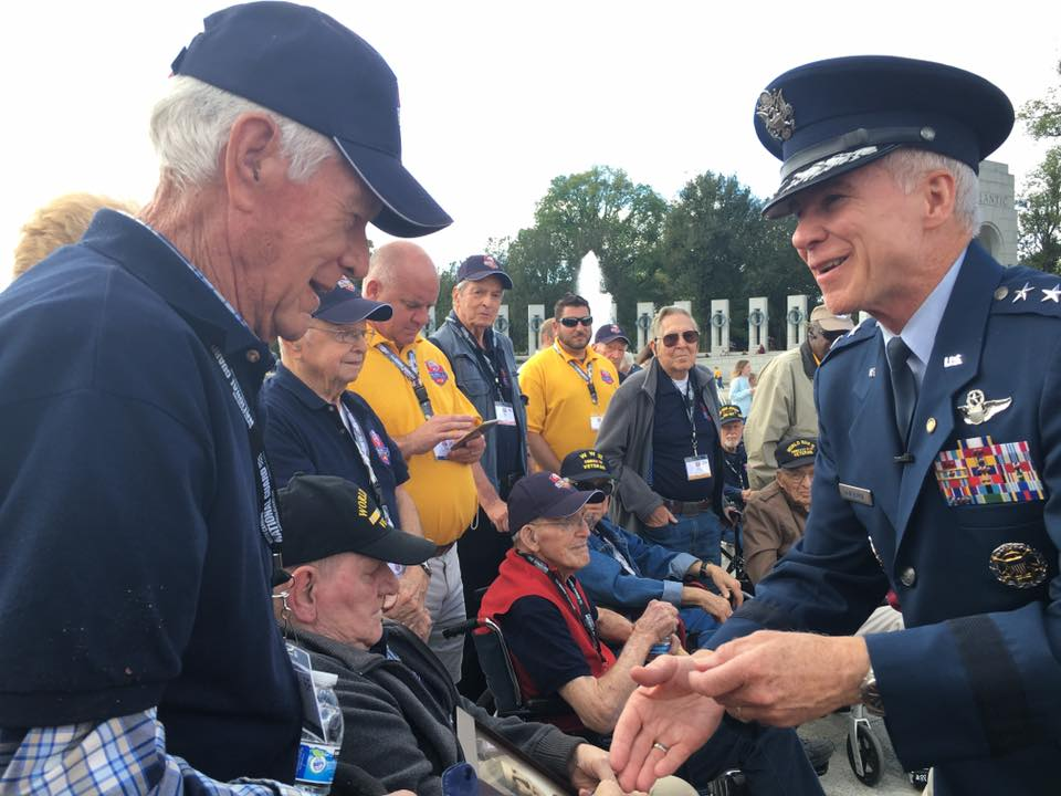 The Blue Ridge Honor Flight group visits the WWII Memorial to conclude their Washington, D.C. trip. All the veterans were given a special token of appreciation for their service. Photo: WLOS staff