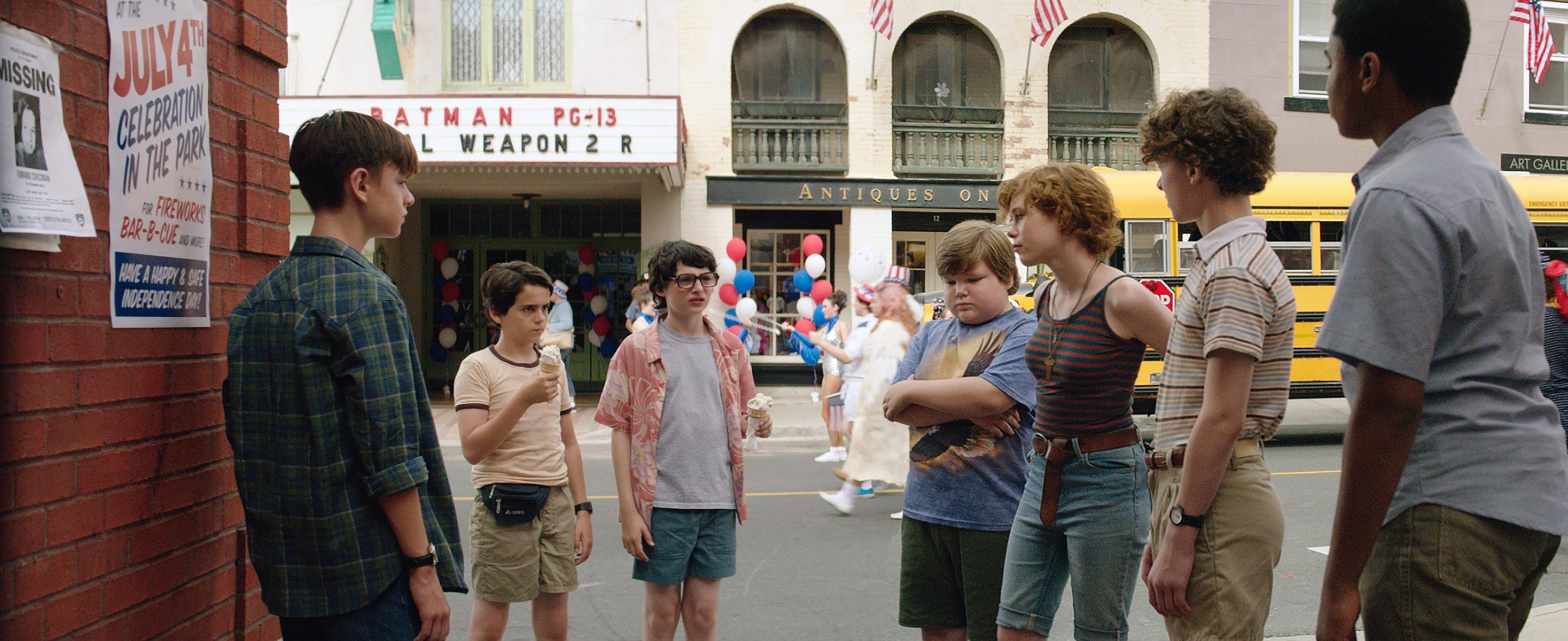 "(L-r) JAEDEN LIEBERHER as Bill Denbrough, JACK DYLAN GRAZER as Eddie Kaspbrak, FINN WOLFHARD as Richie Tozier, JEREMY RAY TAYLOR as Ben Hanscom, SOPHIA LILLIS as Beverly Marsh, WYATT OLEFF as Stanley Uris and CHOSEN JACOBS as Mike Hanlon in New Line Cinema's horror thriller ""IT,"" a Warner Bros. Pictures release. Photo Credit: Brooke Palmer"