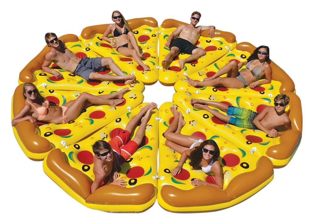 Giant Inflatable Pizza: Pizza fans rejoice, you can now bring your number one love to the lake. Grab 7 of your favorite people and hey... maybe even have a large pepperoni delivered to the beach? Listen, we're not trying to tell you how to live your life but when in Rome right? (Photo: Courtesy Amazon)