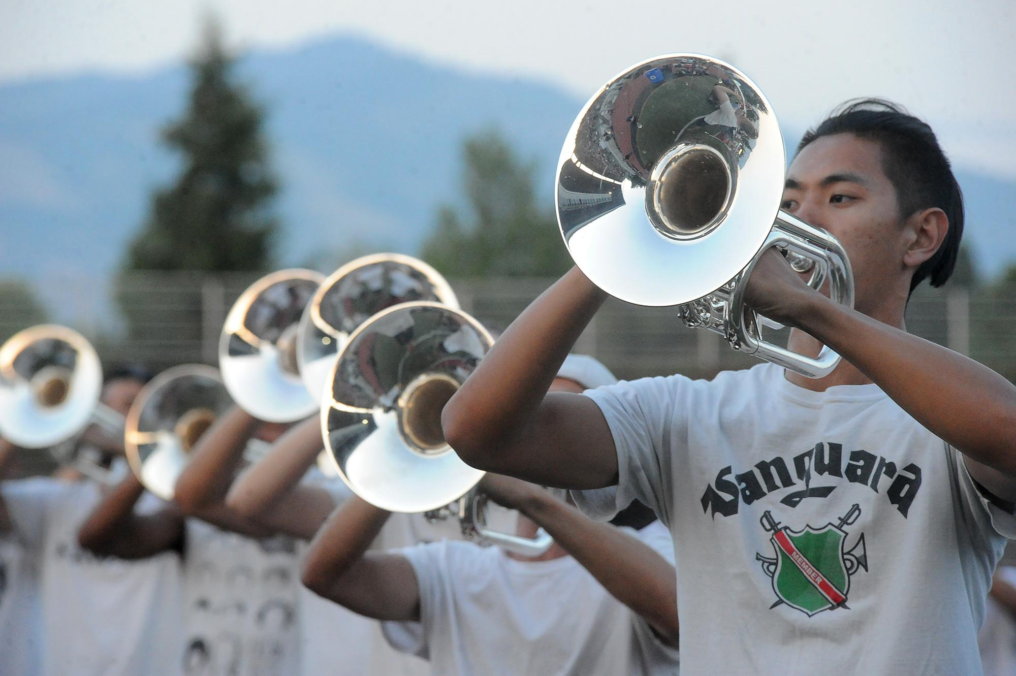 Horn players and members of the Santa Clara Vanguard Drum & Bugle Corps give a free concert Thursday at Raider Stadium. Photo by Denise Baratta