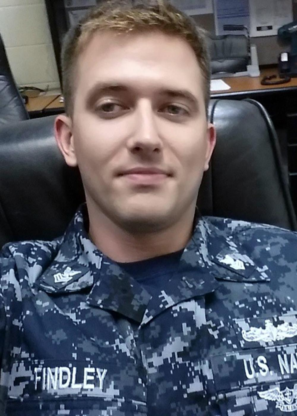 .S. Navy file photo of Electronics Technician 1st Class Charles Nathan Findley, 31, from Amazonia, Missouri, who was stationed aboard USS John S. McCain (DDG 56) when it collided with the Liberian-flagged merchant vessel Alnic MC, Aug. 21. Findley was identified as missing on Aug. 24. Navy and Marine Corps divers will continue search and recovery efforts inside flooded compartments in the ship for the missing Sailors.  (U.S. Navy photo/Released)