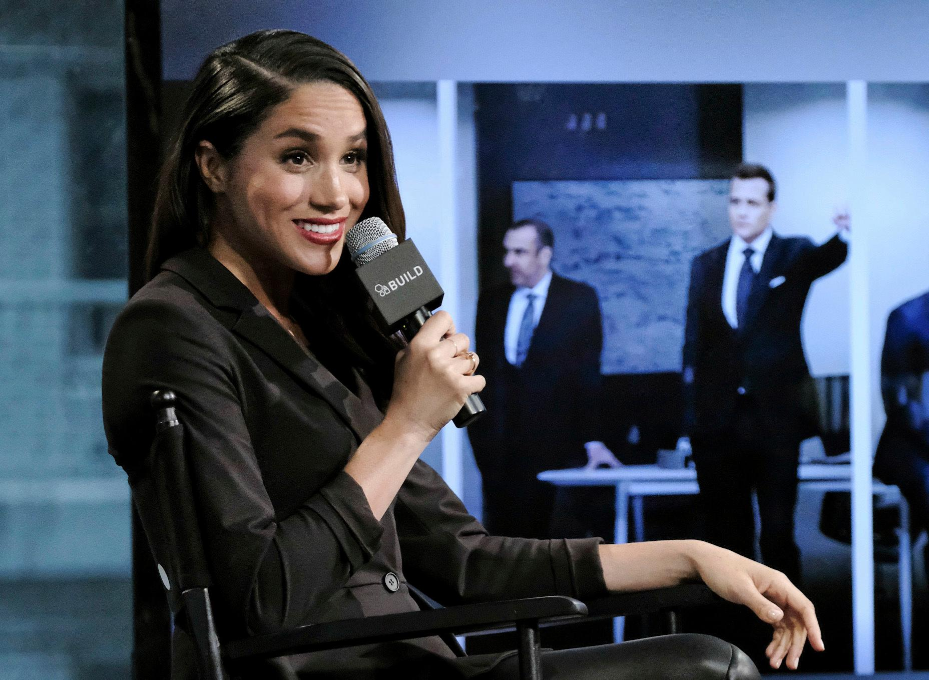 "FILE - In this Thursday, March 17, 2016 file photo, actress Meghan Markle participates in AOL's BUILD Speaker Series to discuss her role on the television show, ""Suits"", in New York. Palace officials announced Monday Nov. 27, 2017 that Britain's Prince Harry is engaged to Meghan Markle, confirming months of rumors that the couple was close to tying the knot. (Photo by Evan Agostini/Invision/AP, File)"