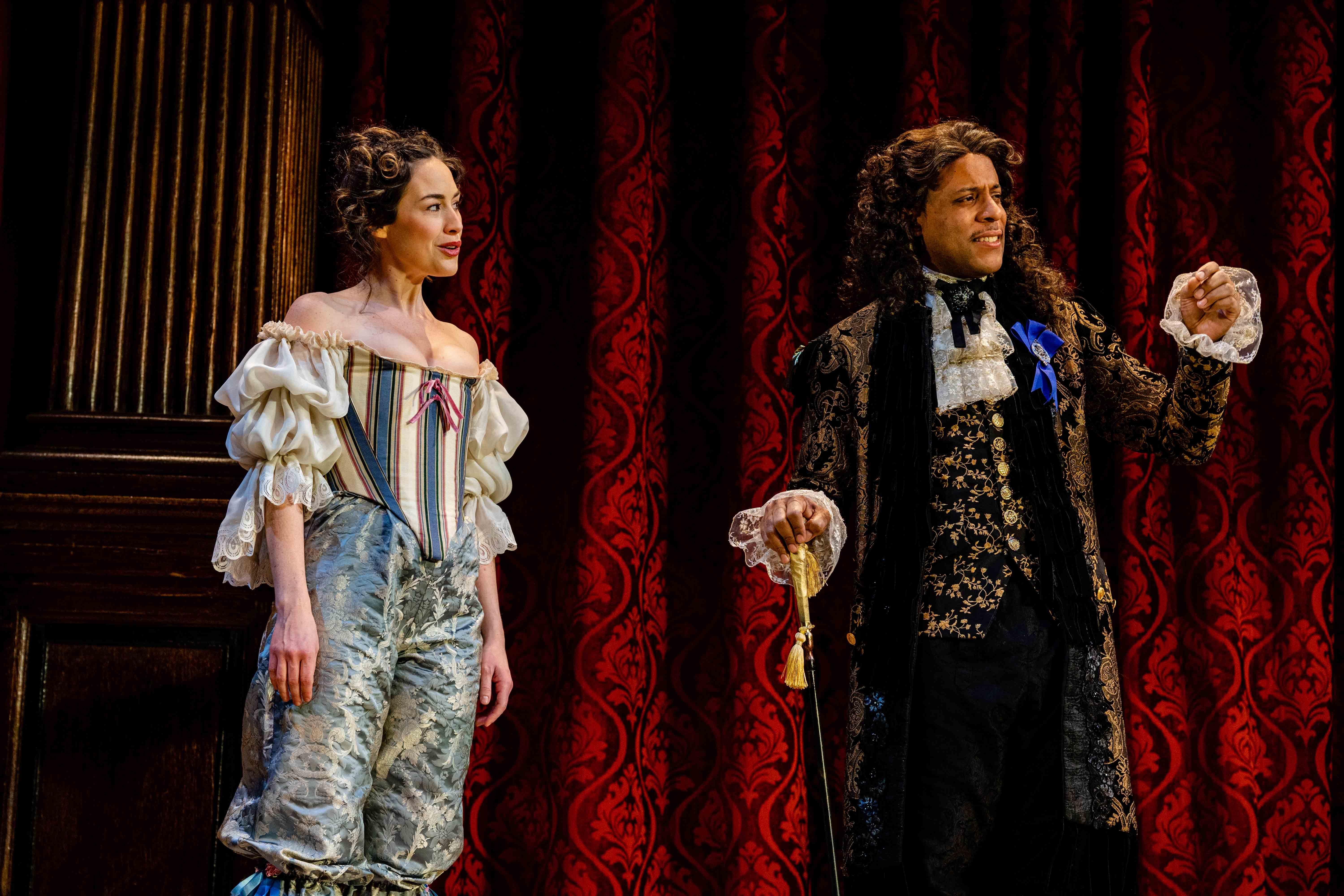 Nell Gwynn (Alison Luff) entertains a new fan—King Charles II (R.J. Foster). (Image: Brittany Diliberto / Bee Two Sweet Photography)<p></p>