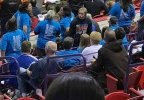 Fans get ready to cheer on their team in the WIAA girls state high school basketball tournament March 9, 2017, at the Resch Center in Ashwaubenon.