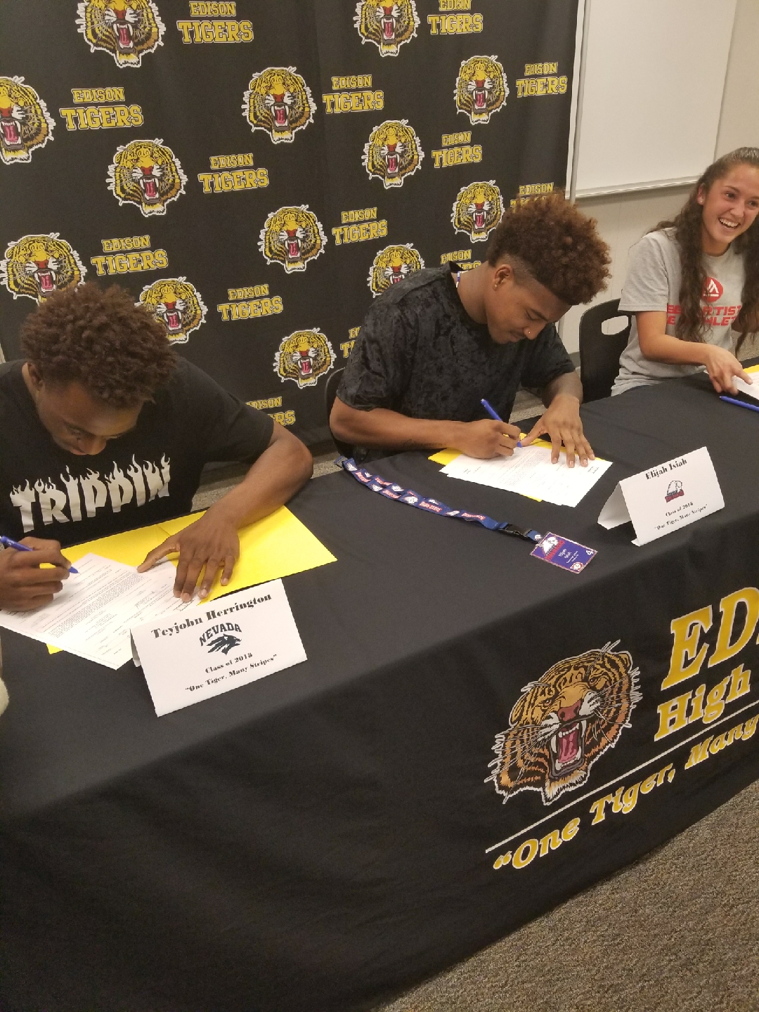 Edison student-athletes sign their letters of intent. From left to right:{&amp;nbsp;}Teyjohn Herrington, football, University of Nevada; Elijah Isiah, football, Dixie State; Reyna Valencia, soccer, Academy of Art University.<p></p>