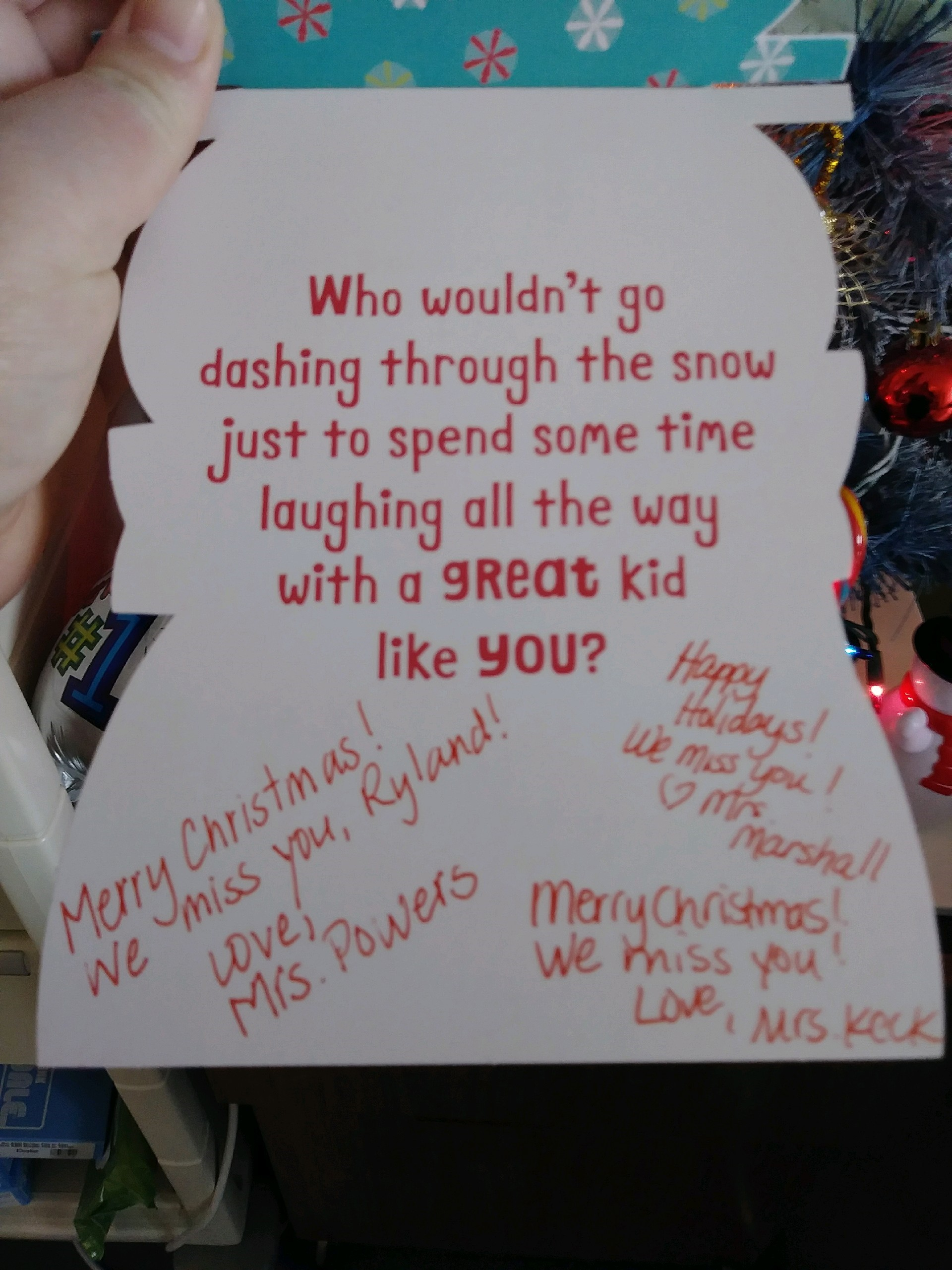 One of the thousands of Christmas cards sent to Ryland Ward.  Courtesy photo.