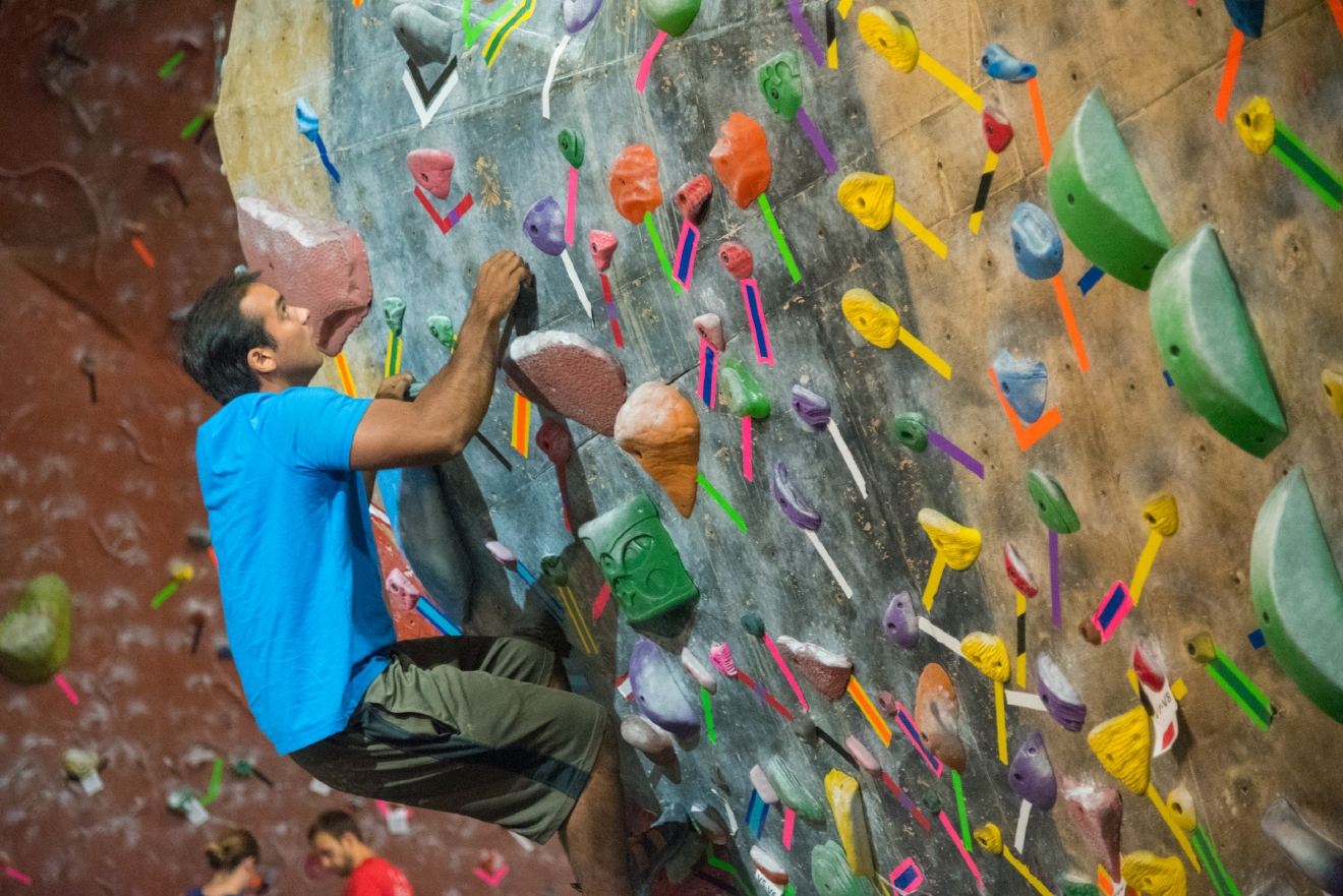 RockQuest is an indoor rock climbing simulator that offers a variety of climbing routes to both beginners and seasoned vets alike. It is located at 3475 East Kemper Road, Cincinnati, OH 45241 / Image: Phil Armstrong, Cincinnati Refined / Published: 11.18.16