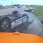Rollover crash caught on school bus camera