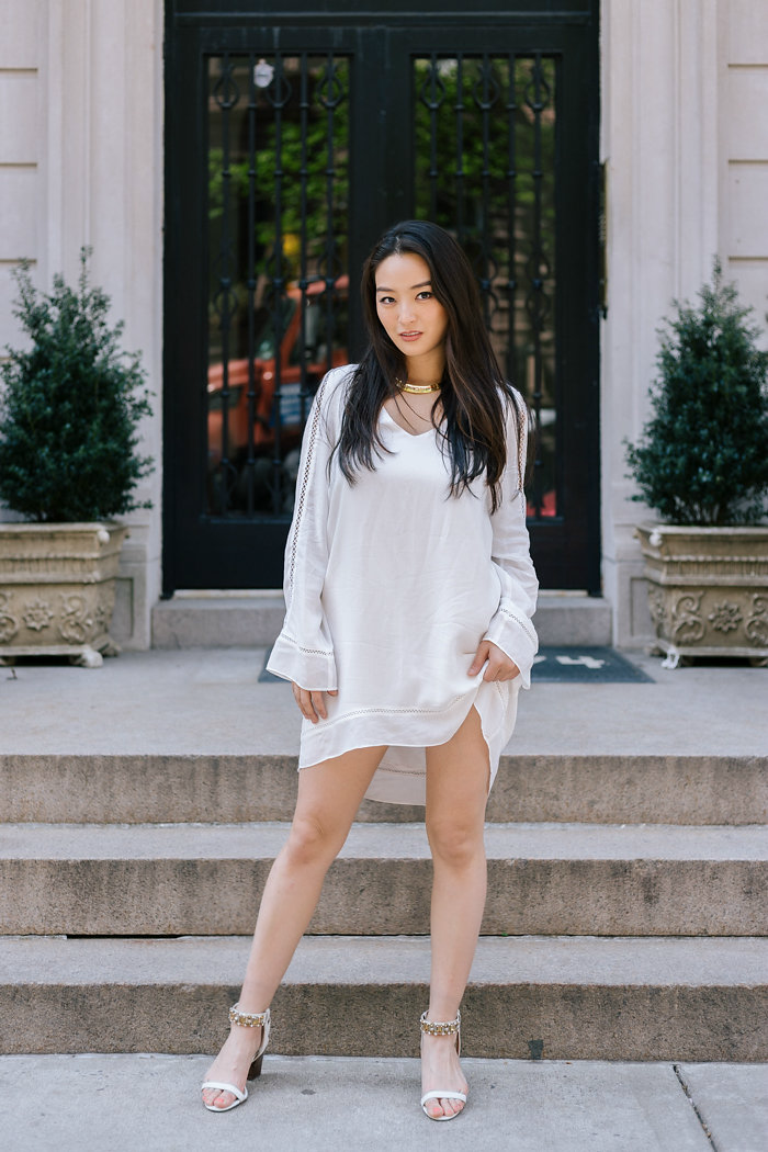 """Fight DC humidity with clothing that falls away from your body - the less fabric that touches your skin, the better,"" says Kimberly Kong, aka the Sensible Stylista. ""Seek silhouettes like the A-line to flatter without sticking and shop for lightweight clothes made of cotton, linen and jersey.{ } Heavy materials (ie. polyester or nylon) cling to you and trap sweat, which is a no-go.{ } Cutout clothing's also a great option because it's like having built-in ventilation.{ } And last but not least, go for lighter colors like pastels or summer whites. Contrary to popular belief, they won't necessarily help you FEEL cooler, but you'll look more season appropriate."" (Image courtesy of Kimberly Kong, @sensiblestylista,{ }http://www.sensiblestylista.com/)"