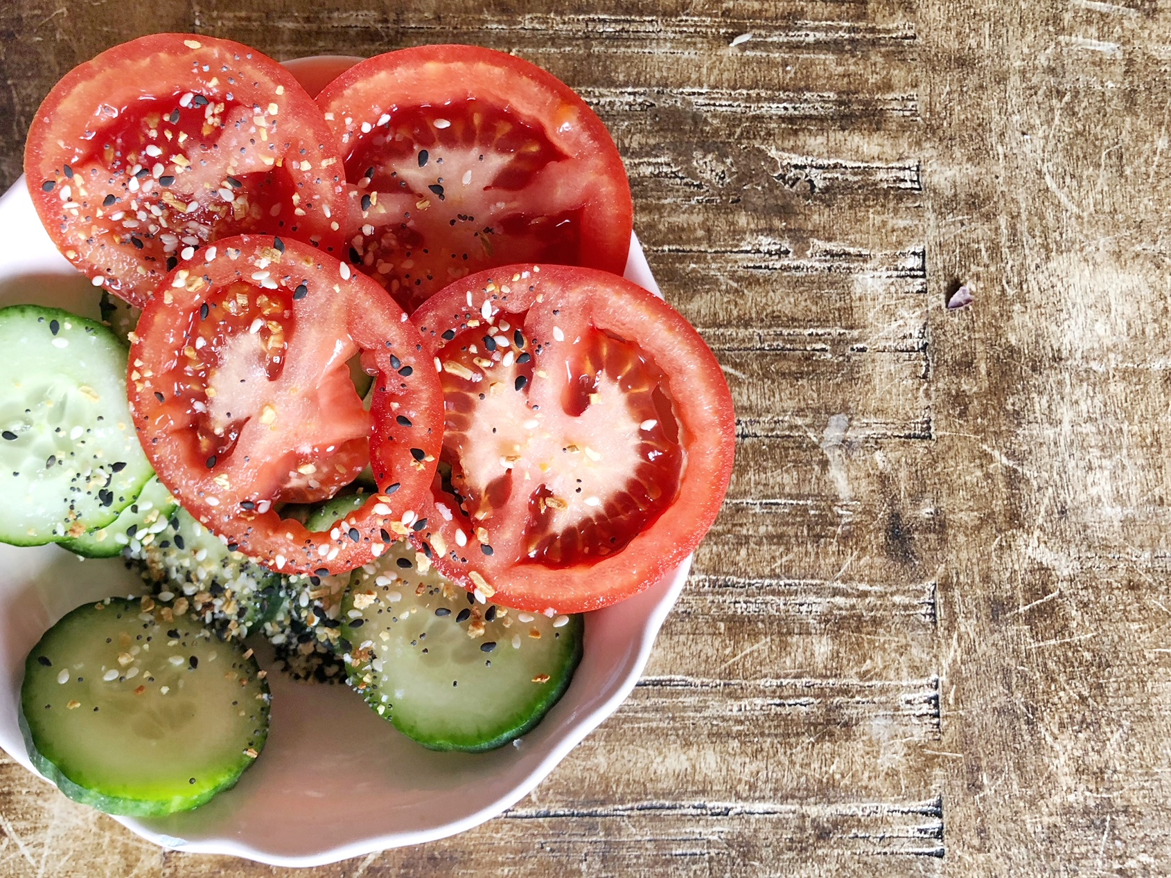 Add Trader Joe's Everything But the Bagel Seasoning mix to veggies for a fun kick but barely any calories added.{ }(Image: Amanda Shapin)