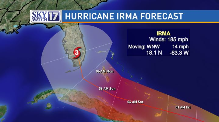 The National Hurricane Center's latest projections for Hurricane Irma show the Category 5 hurricane moving into the southern tip of Florida early Monday morning. PHOTO: WZTV FOX 17 News Nashville