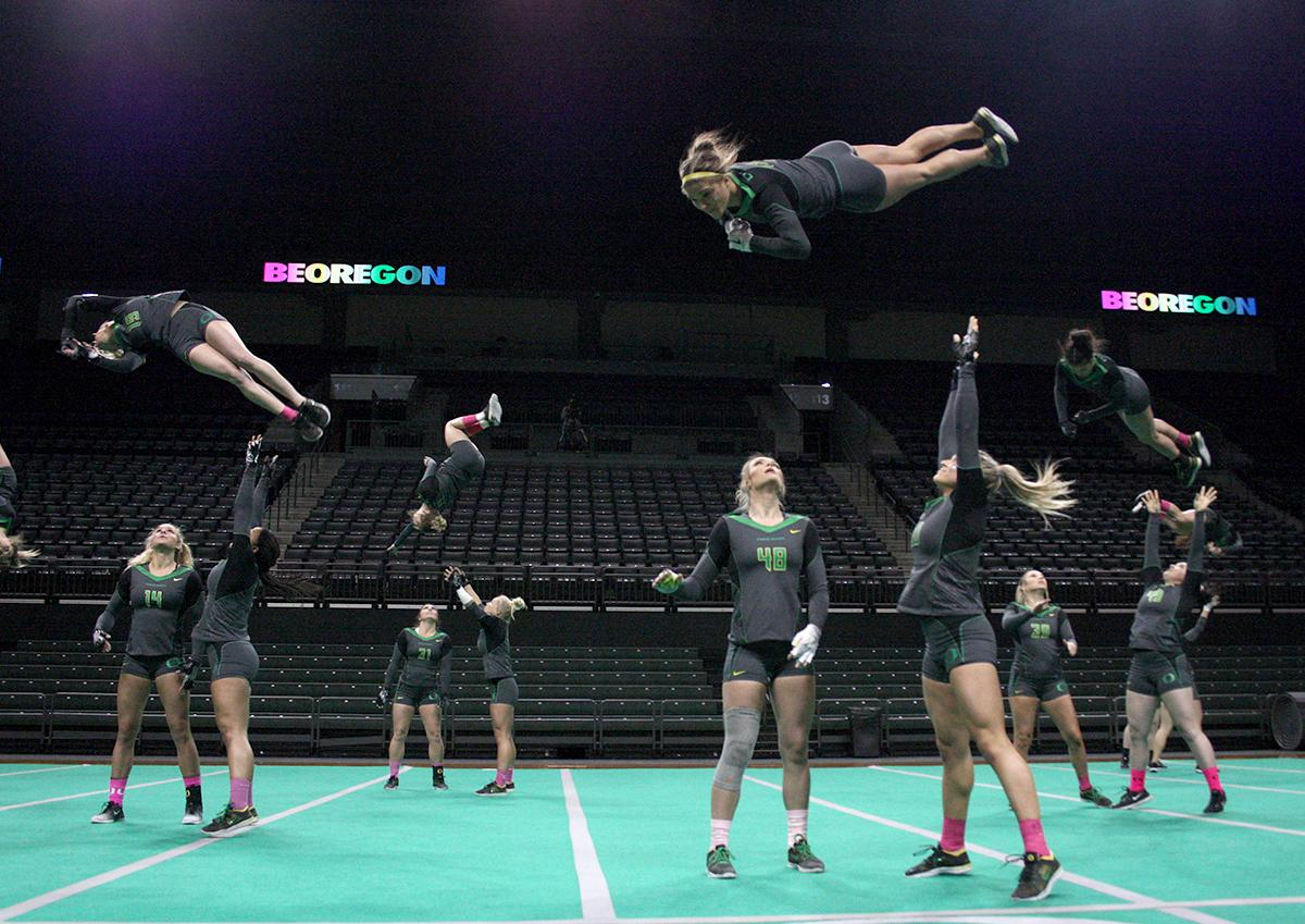The Oregon Ducks Acro and Tumbling team defeated Hawaii Pacific in their second meet of the season and their first home meet with a score of 280.10 to 267.595. The Ducks won all six categories: 38.45 to 38.30 in compulsory; 29.55 to 28.55 in acro; 29.50 to 28.40 in pyramid; 29.10 to 27.50 in toss; 56.30 to 54.075 in tumbling; and 97.20 to 90.77 in team. The Ducks next face off against their arch rivals the Baylor Bears at Baylor February 24 and then return to Matt Knight Arena for a Tri Meet against Quinnipac and Gannon on March 11. Photo by Anna Rath, Oregon News Lab