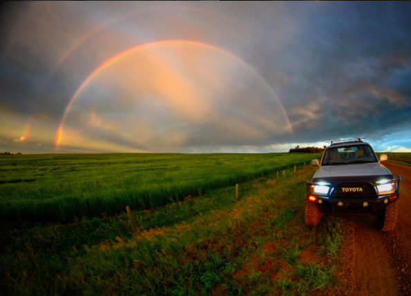 IMAGE: IG user @chasemagicphotography / POST: Those backroad, prairie, big sky, storm-chasing adventures #rainbow #doublerainbow #toyotanation #adventureanywhere