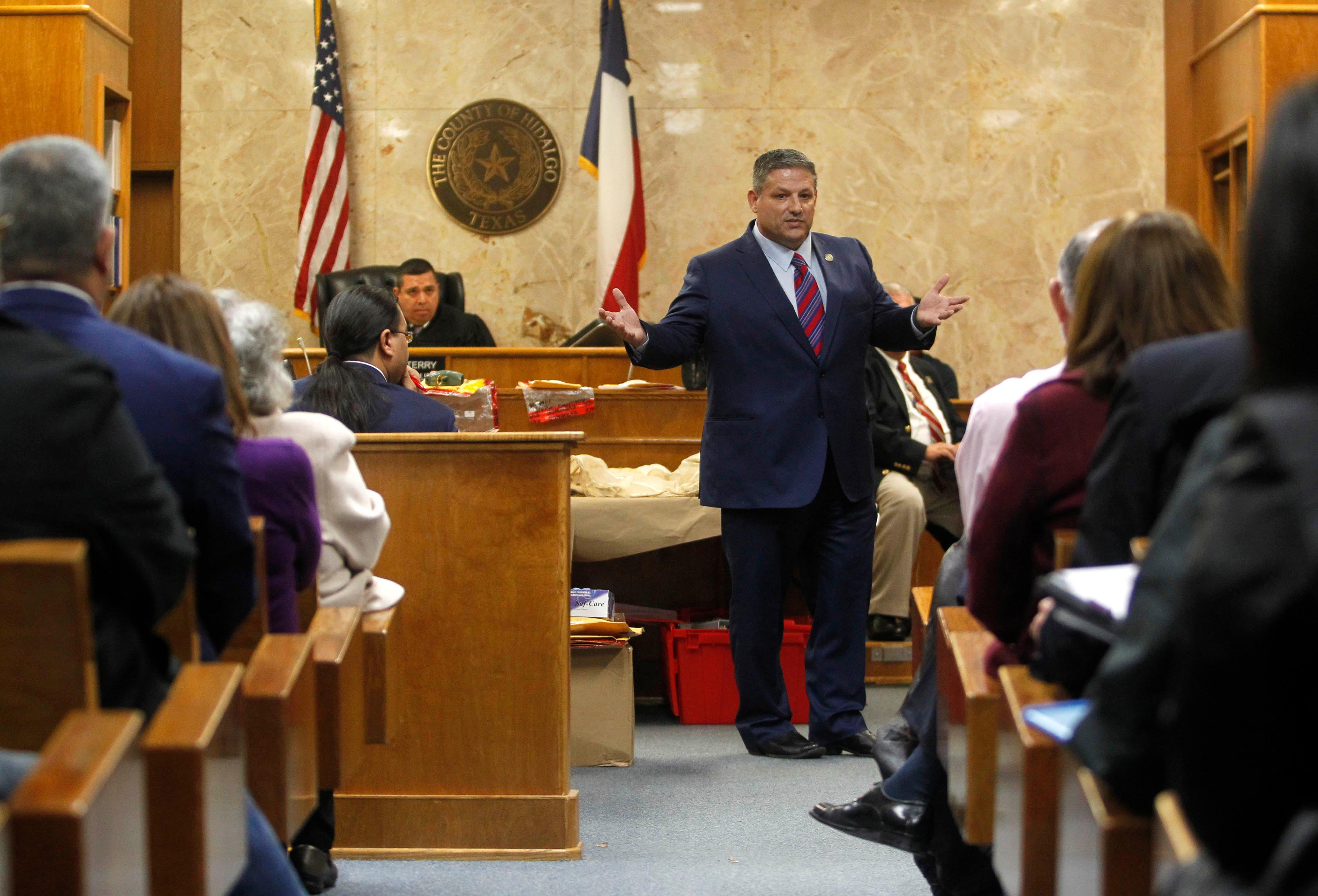 Hidalgo County Assistant District Attorney Michael Garza presents his closing argument in John Bernard Feit's trial for the 1960 murder of Irene Garza in the 92nd state District Court Thursday, December 7, 2017, at the Hidalgo County Courthouse in Edinburg. (Nathan Lambrecht/The Monitor/Pool)
