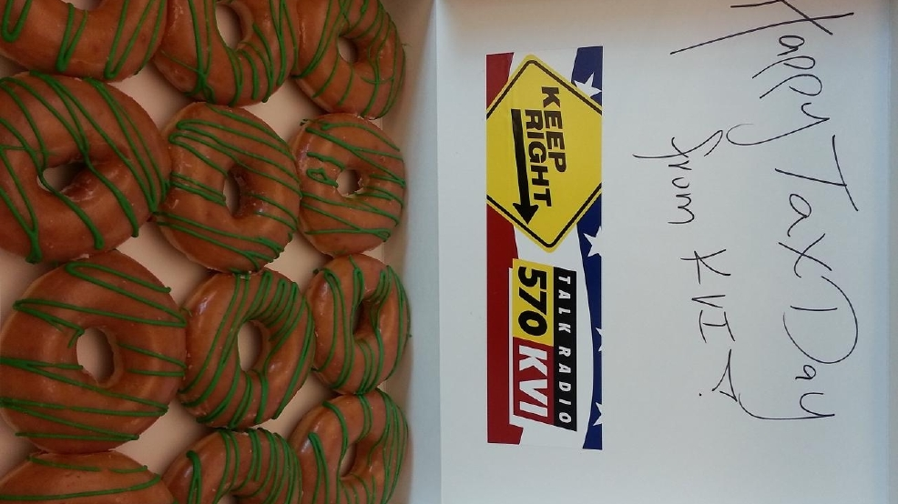 KVI's Tax Day, Tax Break at Krispy Kreme in Issaquah
