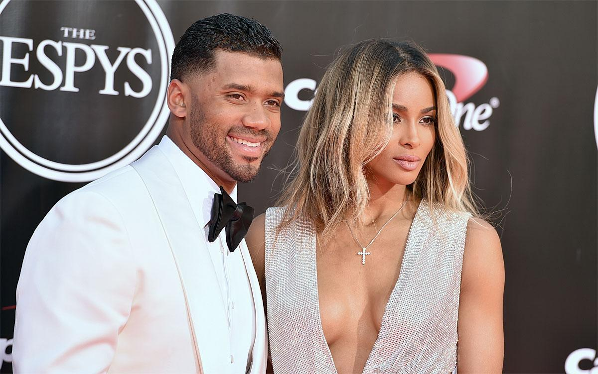 NFL football player Russell Wilson, of the Seattle Seahawks, left, and Ciara arrive at the ESPY Awards at the Microsoft Theater on Wednesday, July 13, 2016, in Los Angeles. (Photo by Jordan Strauss/Invision/AP)