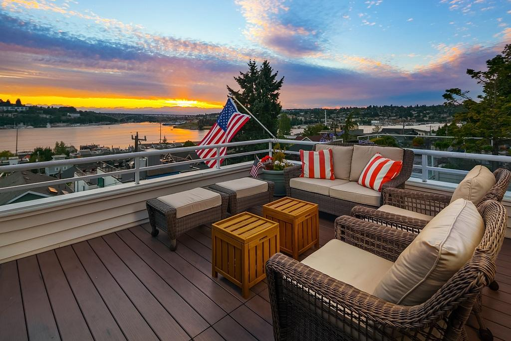 I can't decide if having a third of your condo being a patio is a good thing or a bad thing, but either way - the summers at this Eastlake condo have got to be AMAZING. Built in 1989, this condo was completely remodeled in 2015. The home is 991 square feet, PLUS an additional 300 square feet of unobstructed western-facing private patio. That's 2 beds, 1 bathroom, and one kick-a$$ deck. Other features include a wood-burning fireplace, main level courtyard, access to the condo rooftop deck (unless your private one isn't enough), and to tennis and bocce ball courts. NWG Real Estate is selling for $669,000 - more info at EastlakeViewLiving.com. (Image: NWG Real Estate)