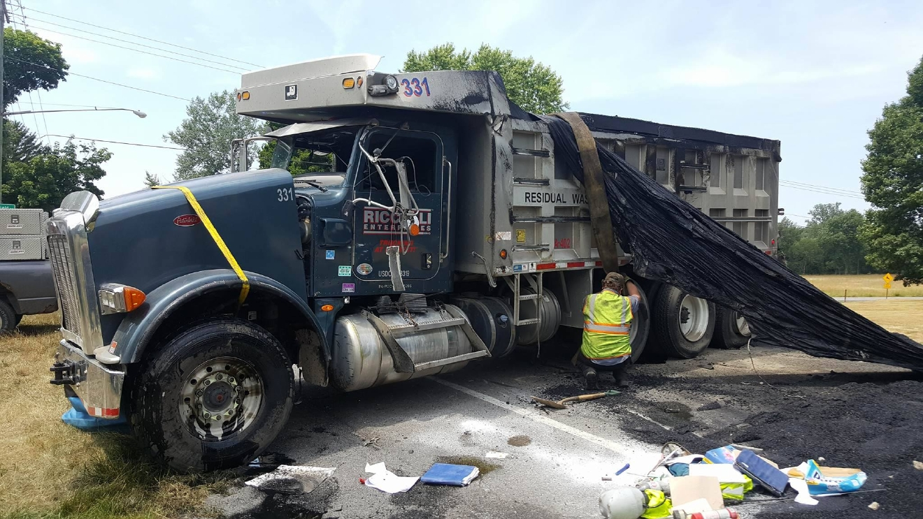 An asphalt truck being righted after a crash in Mendon Tuesday afternoon (Photo: John Ellersick)