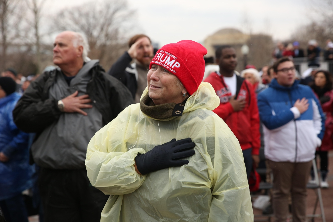 After Trump was sworn in, this woman teared up during the music. (Amanda Andrade-Rhoades/DC Refined)