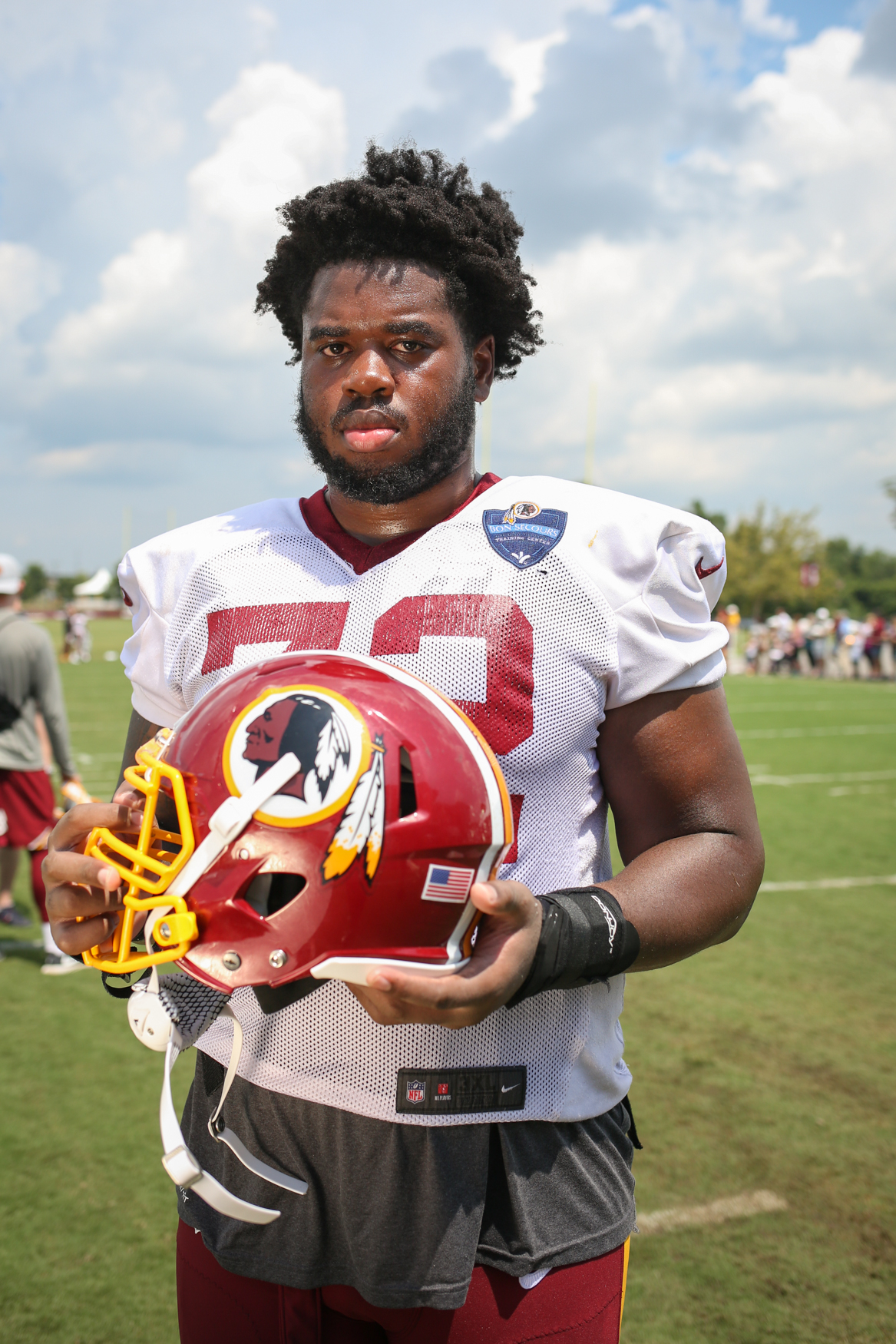 "Geron Christian (72) is a 21-year-old offensive tackle from Jupiter, Florida who was drafted to the Redskins in the third round. ""It was really unbelievable,"" he said. ""It's something you always dream of, but it felt good to hear your name get called."" (Image: Amanda Andrade-Rhoades/ DC Refined)"