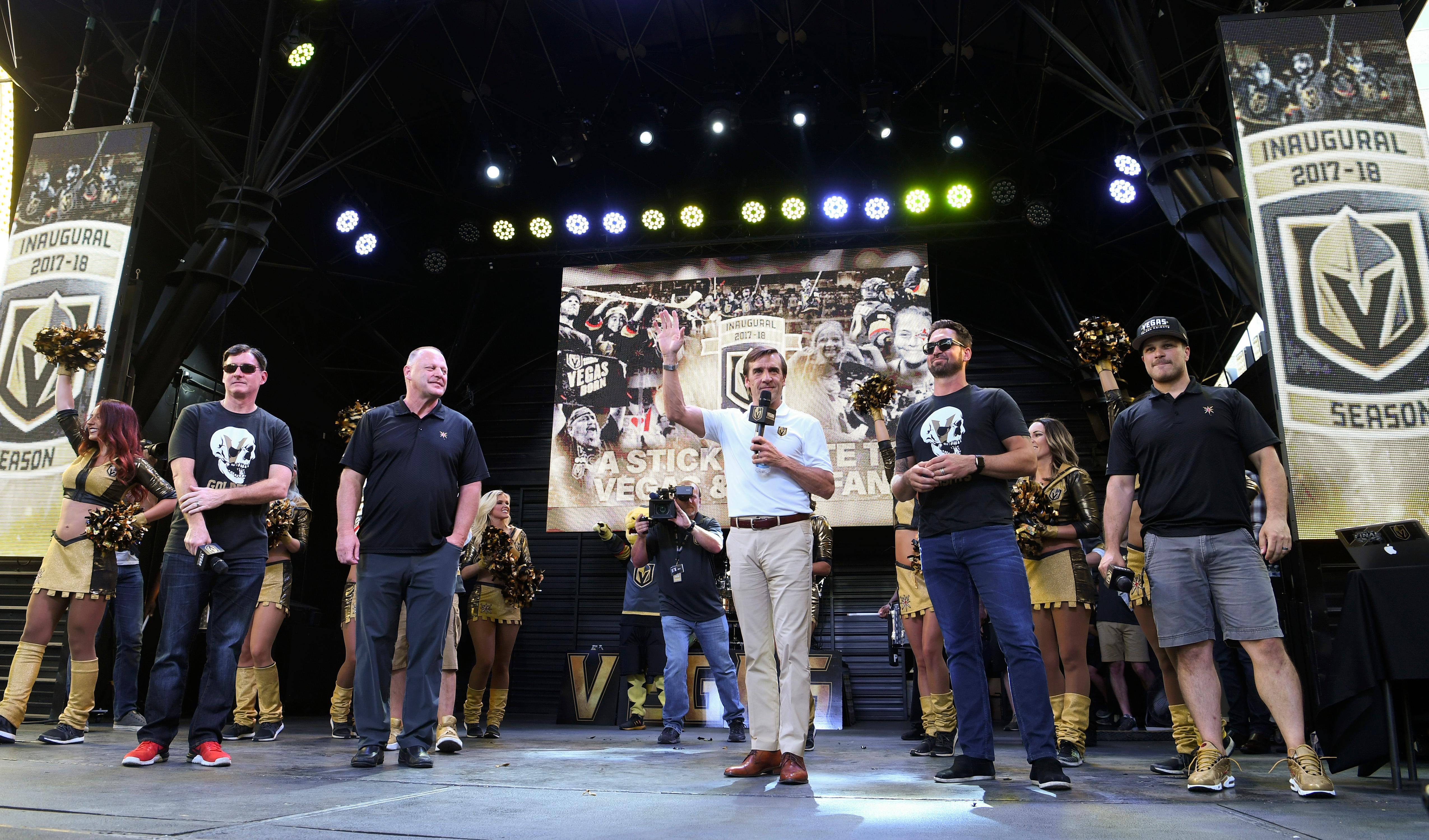 General Manager George McPhee salutes the crowd during a Vegas Golden Knights Stick Salute to Vegas fan appreciation rally at the Fremont Street Experience Wednesday, June 13, 2018. CREDIT: Sam Morris/Las Vegas News Bureau