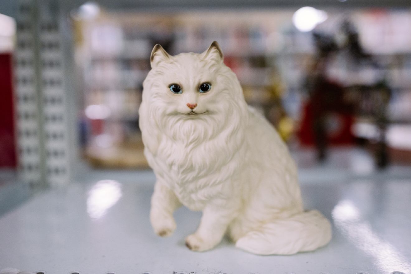 Cat figurine. $2.99  Are you going to a White Elephant Gift Exchange this year? We headed to our local Value Village to give you some gift ideas and how much they cost. (Image: Joshua Lewis / Seattle Refined)
