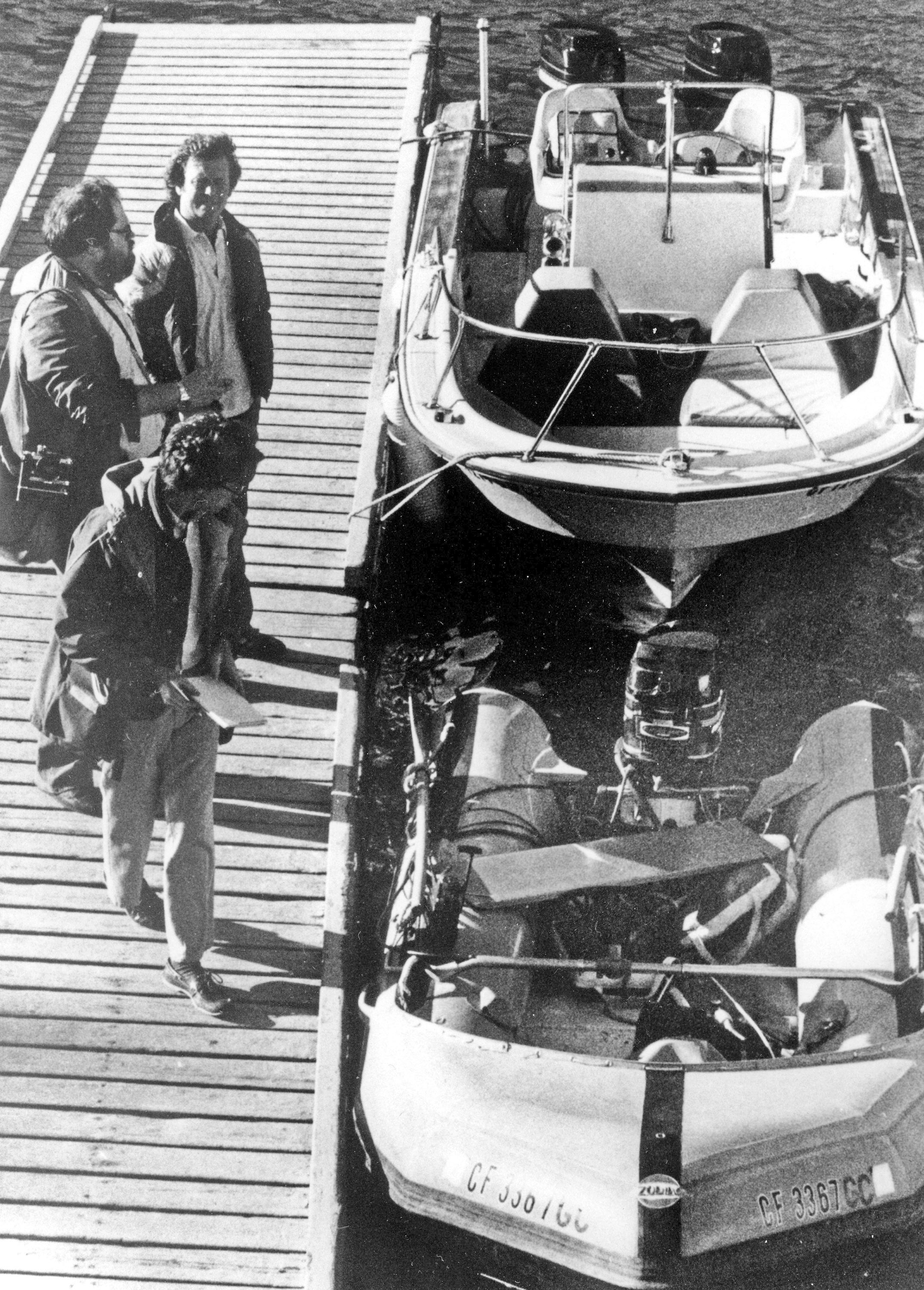 FILE - This Nov. 30, 1981 file photo shows the &quot;Prince Valiant,&quot; the inflatable dinghy used by Natalie Wood, moored at the harbor in Avalon, Calif., after it washed up on the rocks on Santa Catalina Island. {&amp;nbsp;}(AP Photo/Paul J. Harrington, File)<p></p>