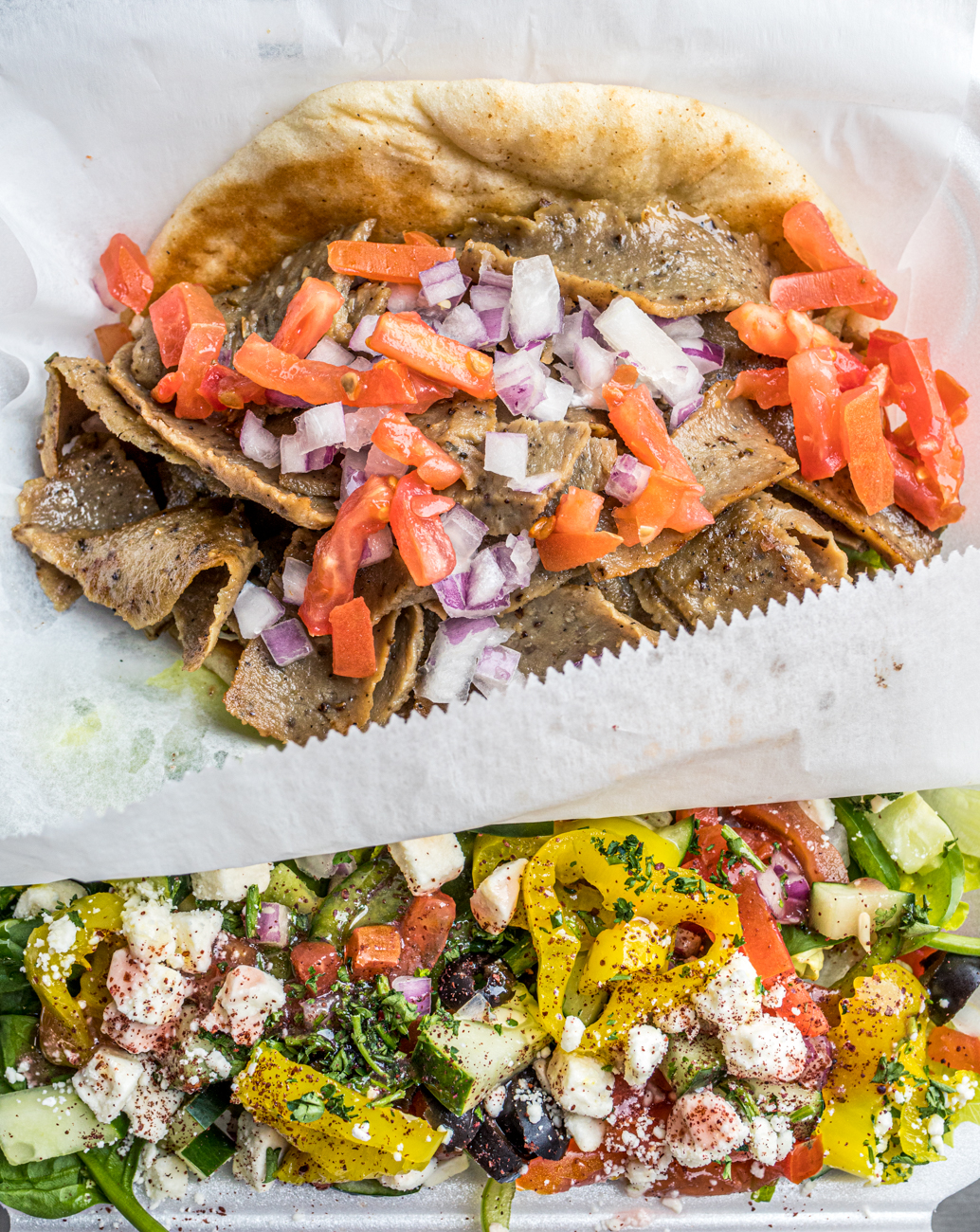 Gyro Platter served with lettuce, tomato, onion, and cucumber sauce / Image: Catherine Viox{ }// Published: 1.26.20