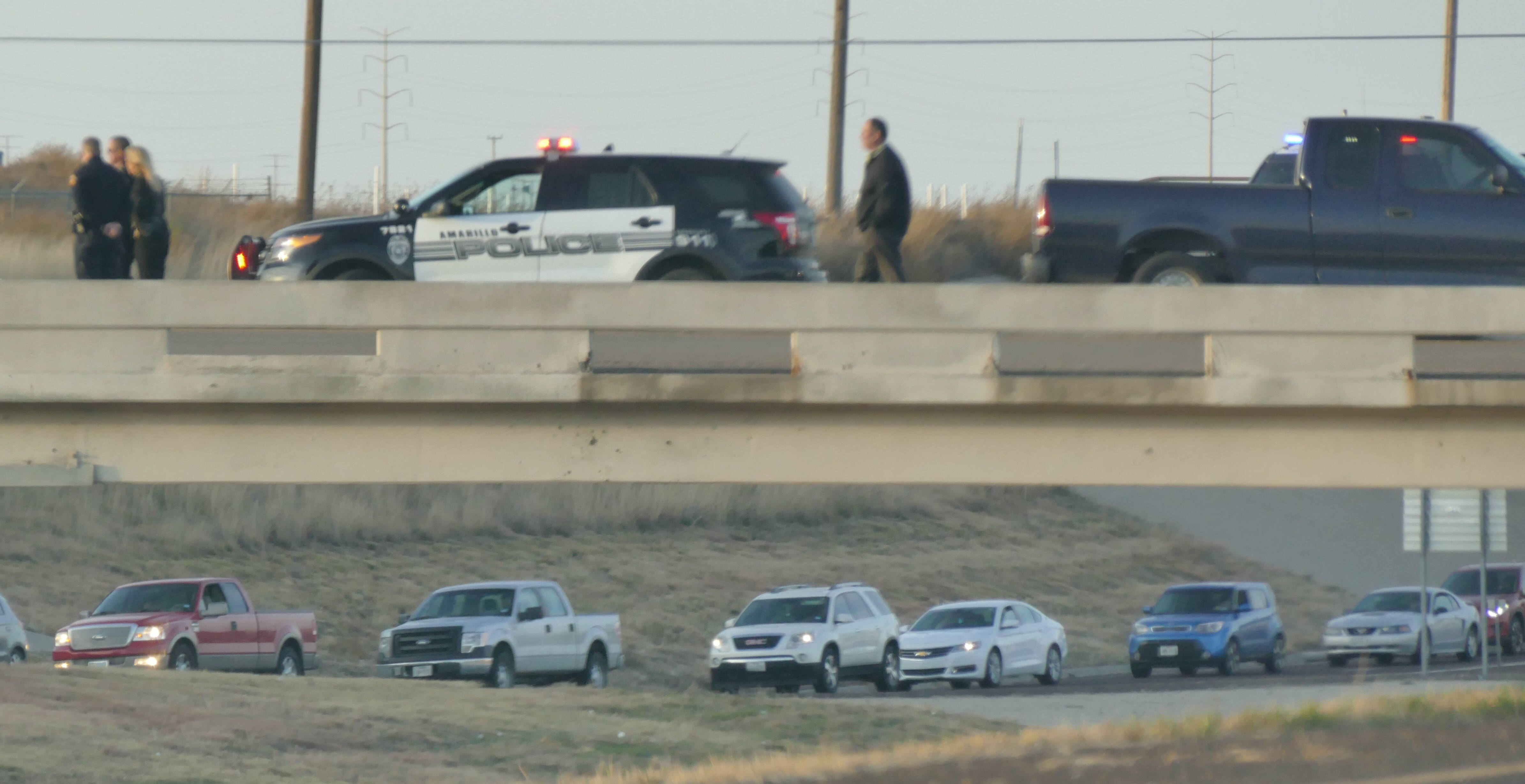 Reports from an ABC 7 crew on the scene say police have the a man surrounded on the bridge at Lakeside Drive and Amarillo Boulevard. (ABC 7 Amarillo - Steve Douglass)