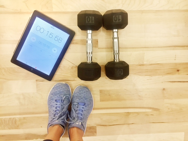 Use your iPad or iPhone timer to time segments of your workout. Each segment try to get more reps done in the same amount of time to really feel the burn (Amanda Shapin)