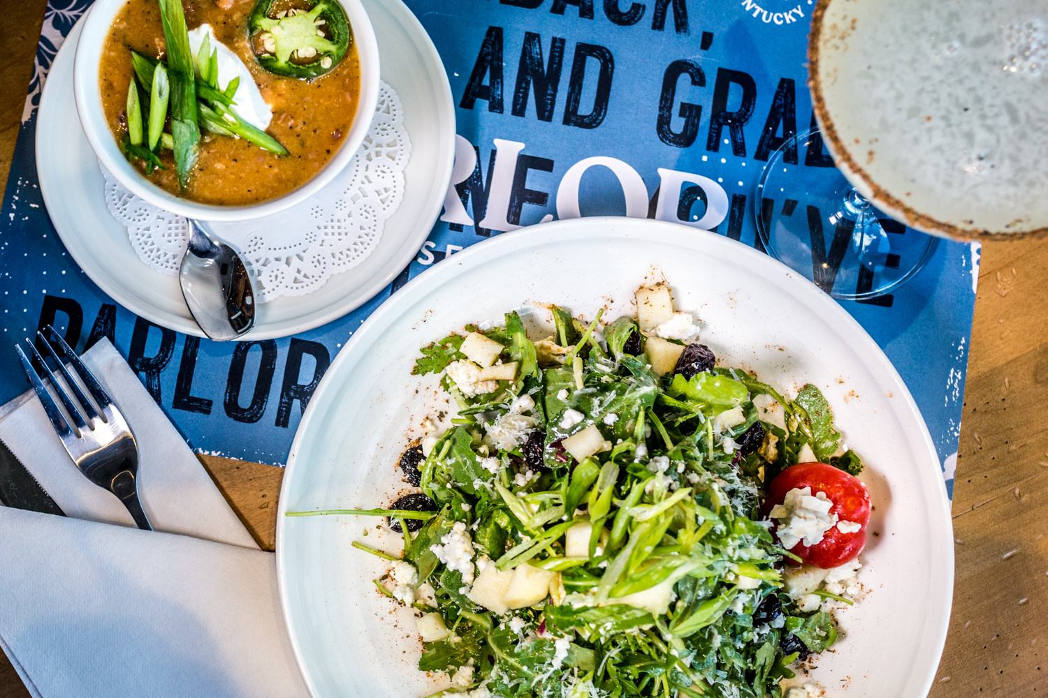 The G.O.A.T. Salad, black eyed pea and tasso ham soup, and a Jalapeño Martini / Image: Catherine Viox{ }// Published: 10.10.19