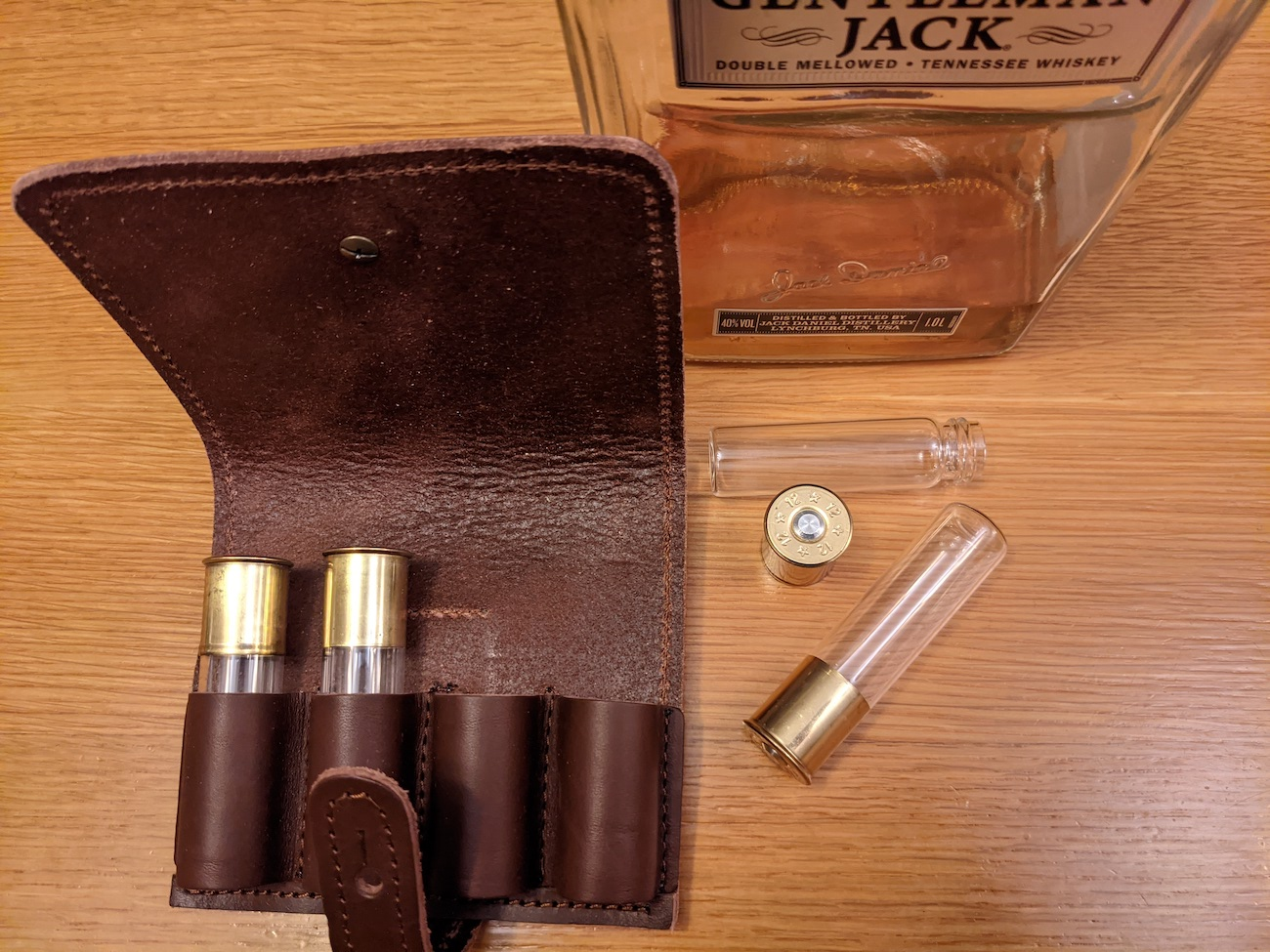 "Gum Leaf's Nice Shots! are a unique gift idea custom-made in Denmark. Nice Shots! are 12-gauge shot glasses with a leather carrying case. The case attaches to your belt for convenient carrying. /{&nbsp;}<a  href=""https://sinclairstoryline.com/www.gumleafUSA.com"" target=""_blank"" title=""www.gumleafUSA.com"">Website{&nbsp;}</a>/ Price: $60 / Image courtesy of Gum Leaf // Published: 12.6.20"