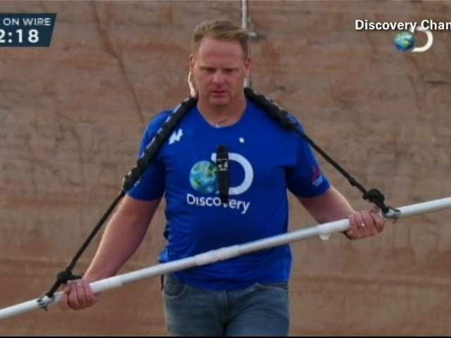 Nik Wallenda gives the tightrope his full concentration.