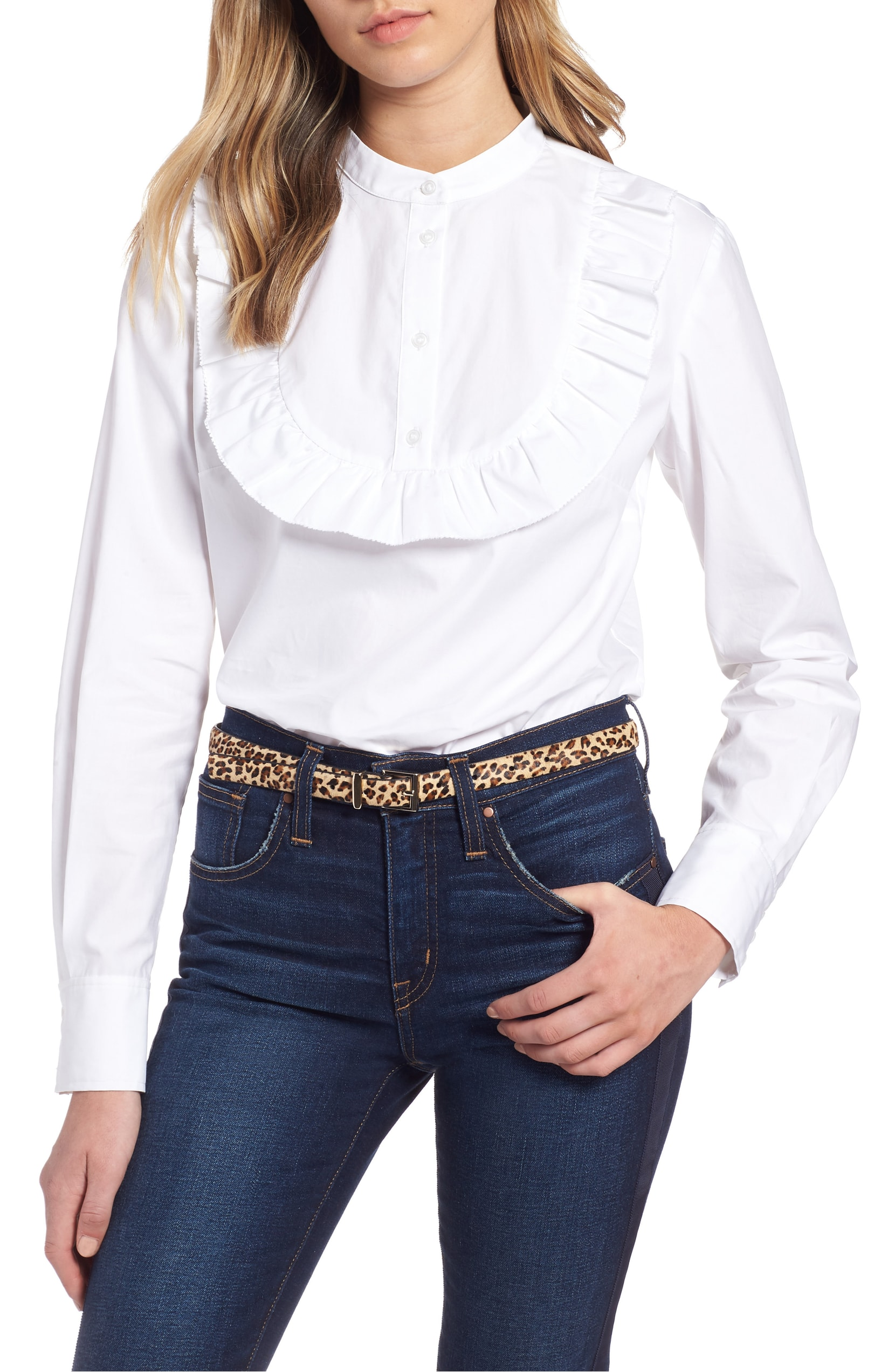 The Trend: Western. Channeling the season's Western vibe, a popover top of crisp cotton poplin features a pert ruffle tracing the curved bib. $69.00 (Image: Western){ }