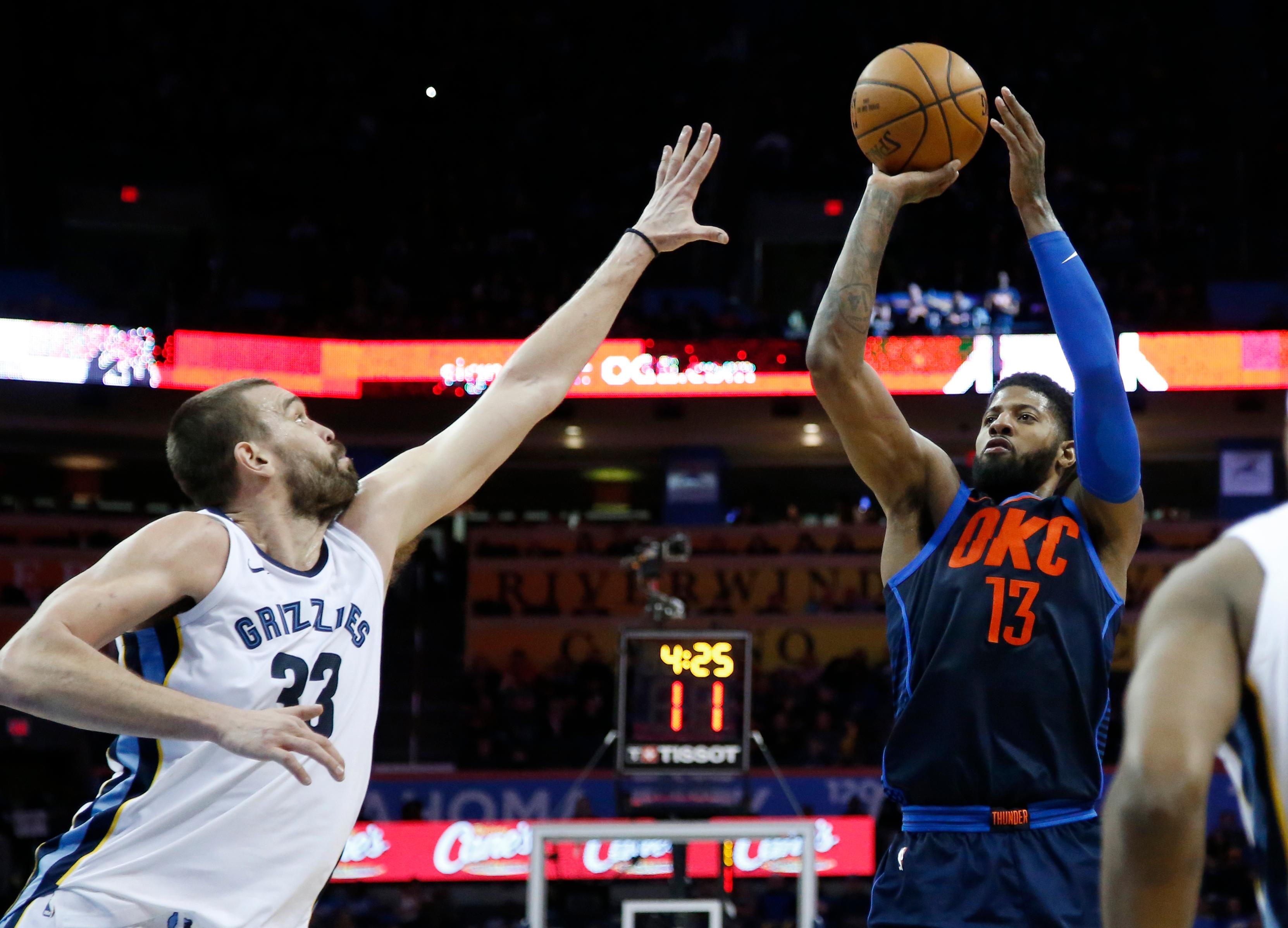 Oklahoma City Thunder forward Paul George (13) shoots over Memphis Grizzlies center Marc Gasol (33) in the second half of an NBA basketball game in Oklahoma City, Sunday, Feb. 11, 2018. (AP Photo/Sue Ogrocki)