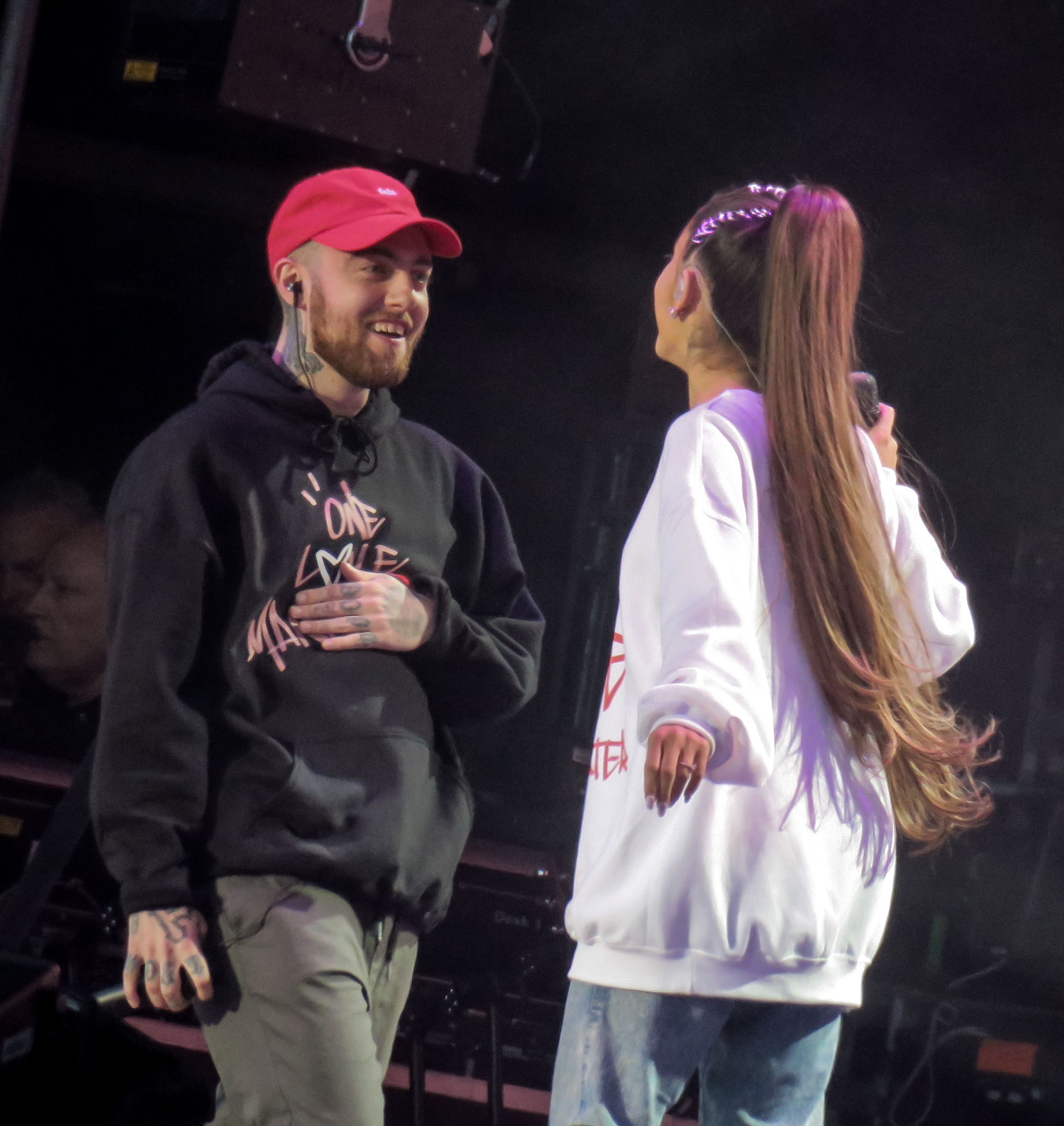 Ariana Grande and Mac Miller at the One Love Manchester concert. June 4, 2017. Credit: WENN.com