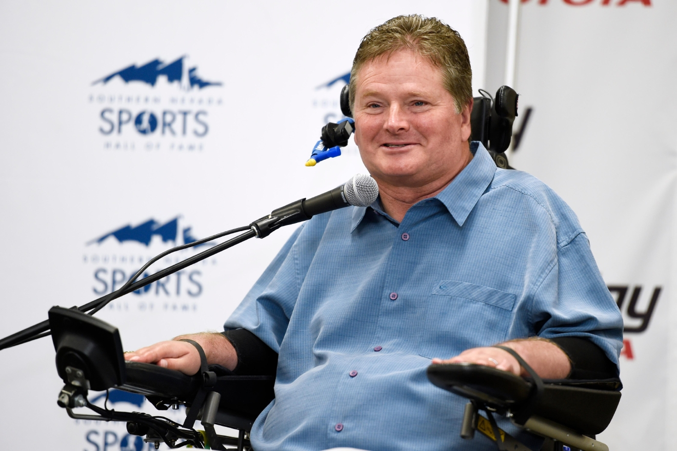 Former Indy car driver and current team owner Sam Schmidt speaks during a news conference to announce the 2017 inductees into the Southern Nevada Sports Hall of Fame Tuesday, March 14, 2017. [Sam Morris/Las Vegas News Bureau]