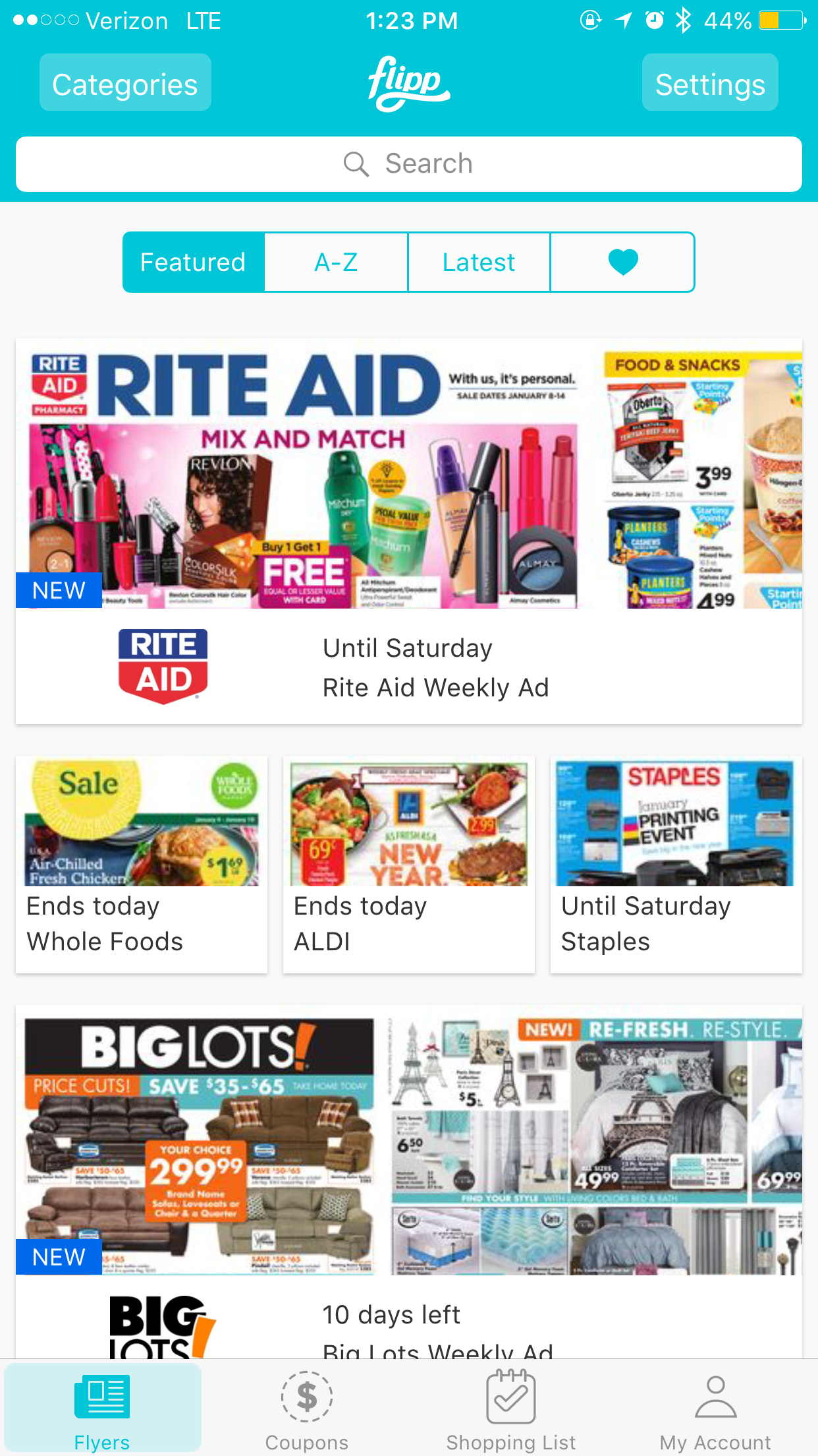 Flipp allows you to search deals and coupons by item, brand, or category to quickly find the best deals on your weekly (or daily -- no one is judging) shopping trips and makes saving money easier than ever. (Screenshot from Flipp App)