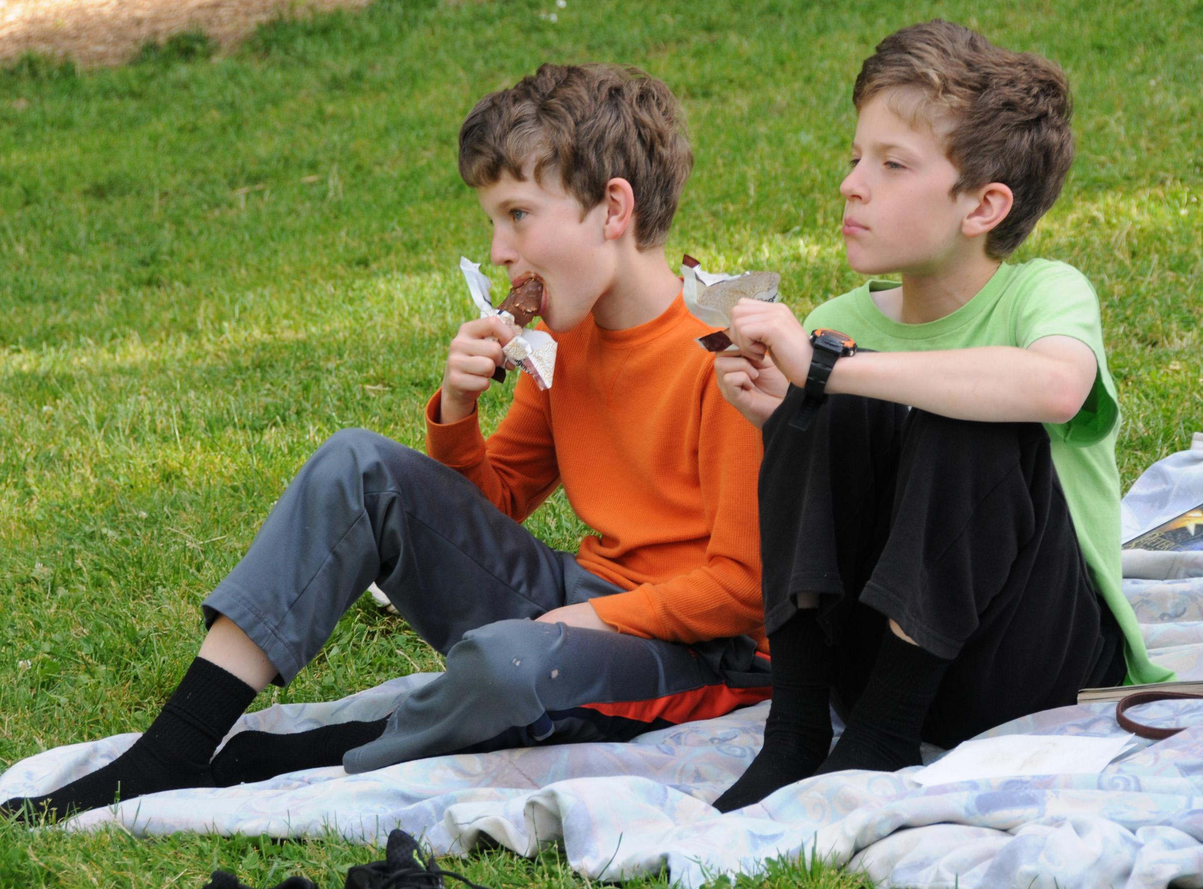 Ashland twins Nathan (left) and Blake Yockey, 11, enjoy cool jazz and cool treats during the Dixieland pre-program at their first-ever concert in the park. (Photo by Jim Flint)