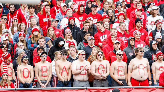 Wisconsin's averaging more than 77,000 fans in five home games this season.{ }