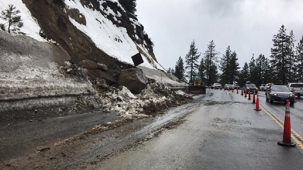 Landslide Shuts Down Us 50 West On East Side Of Lake Tahoe