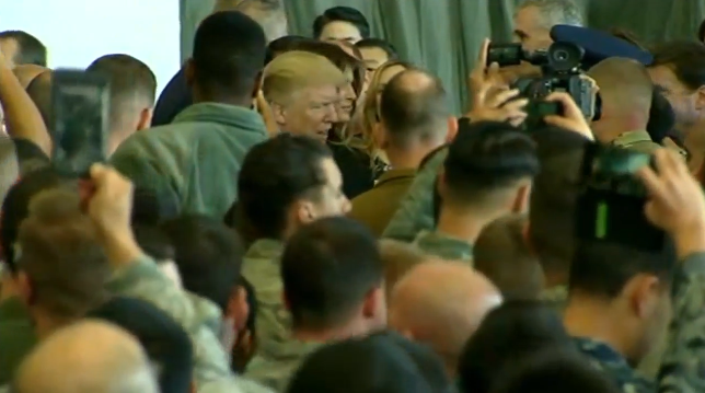 FILE: President Donald Trump addresses troops at Yokota Air Base outside Tokyo on Sunday, November 5, 2017. Japan is the first stop on Trump's 12-day Asia trip. (CNN Newsource)
