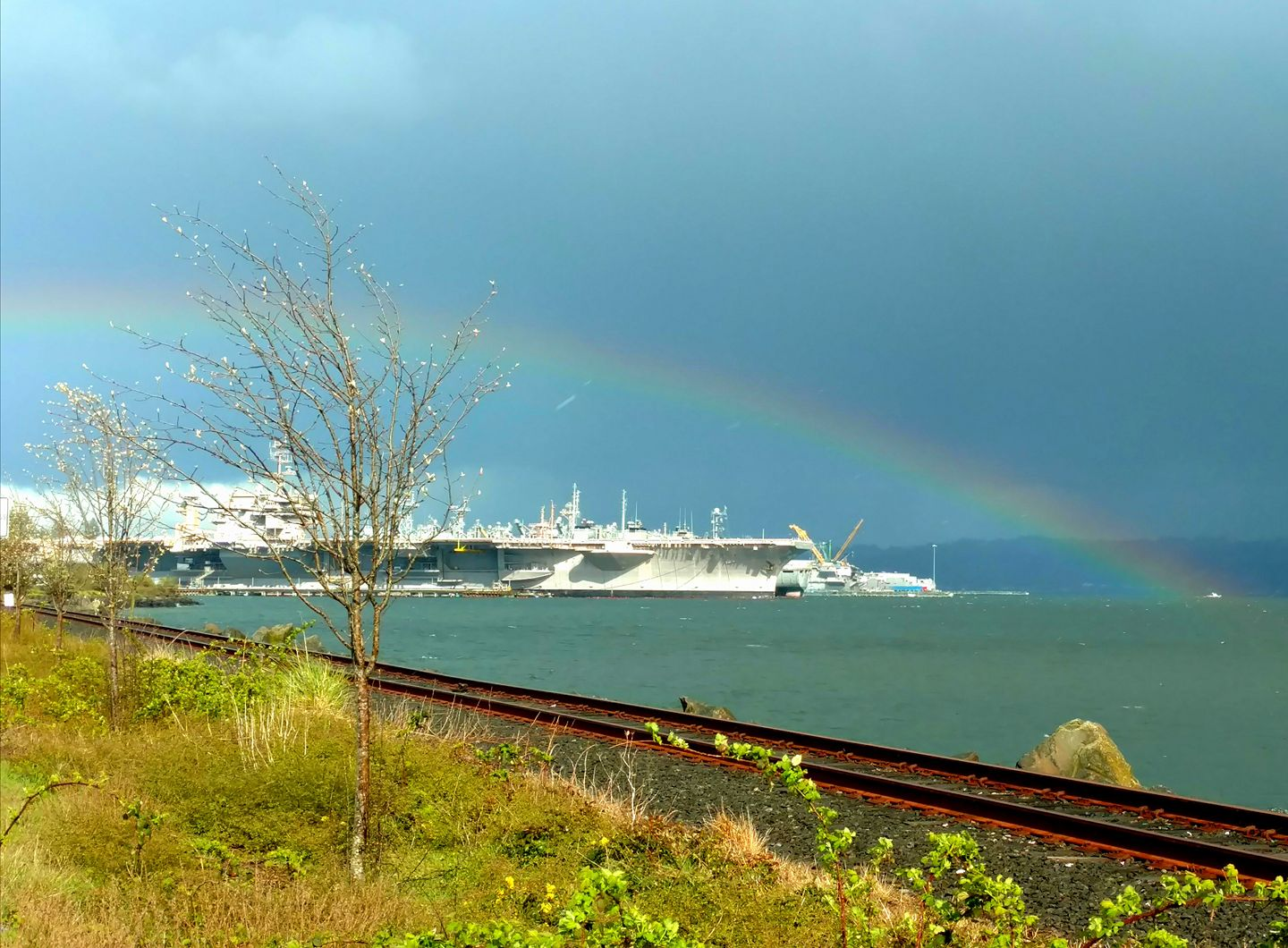 Rainbows over the Naval shipyard in Bremerton, Wash. Monday, April 10, 2017. (Photo: Stacy Stuart)