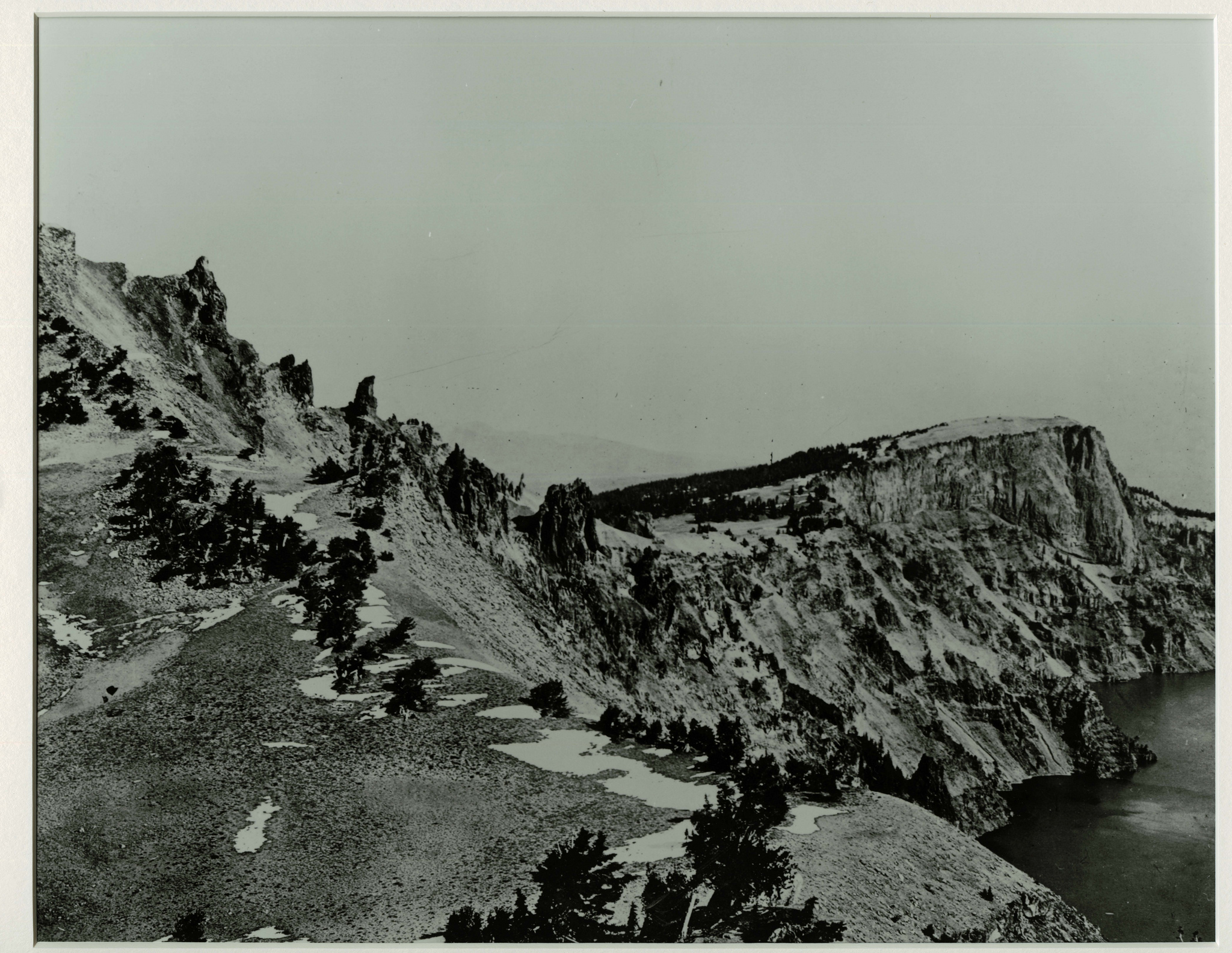 Watchman Overlook and Llao Rock from the Watchman. Photographed by J.S. Diller in the 1890s or 1901 during the USGS survey of the Crater Lake area.   Credit: Courtesy CRLA Museum & Archive Collections