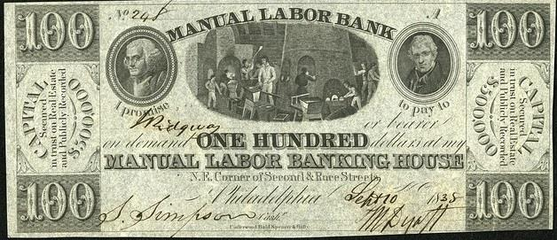Notes like this 1838 bill were issued by private banks that didn't have the silver to back up the paper. Many of these banks failed, including Manual Labor Bank, who produced this note.