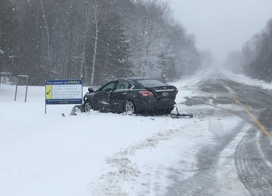 The scene of a crash on County Highway B in Suamico, April 3, 2018. (Photo courtesy of Suamico Police)<p></p><p></p>