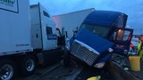 Crash involving 2 semi trucks snarls rainy I-5 commute in Tacoma