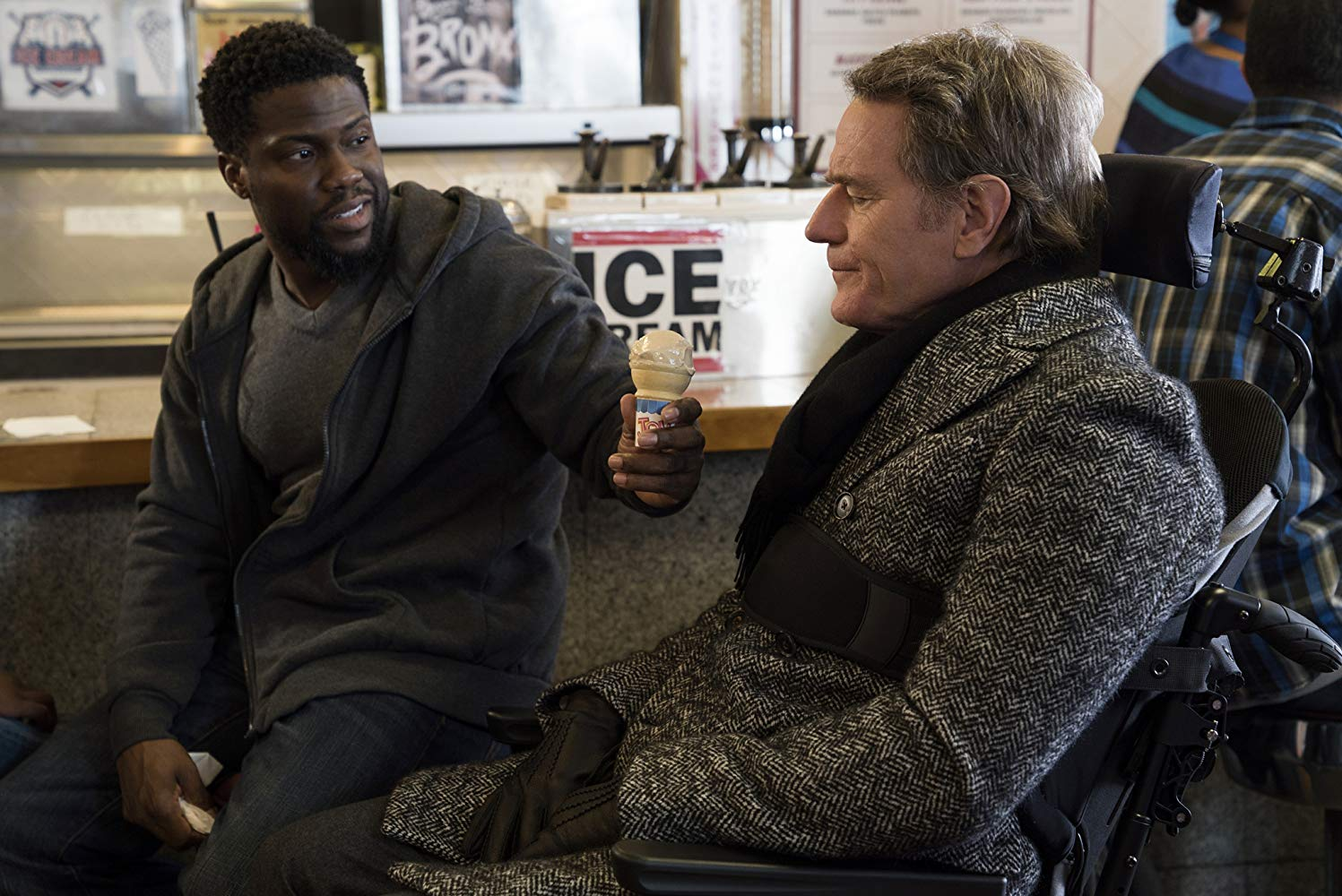 Bryan Cranston and Kevin Hart in The Upside (2017){ }(Image: STX Films)