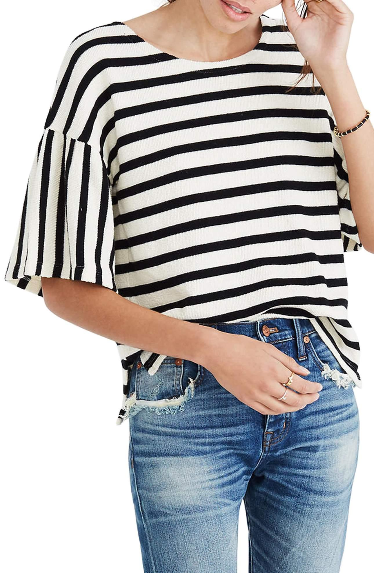 <p>I'm obsessed with this Stripe Bell Sleeve Top/MADEWELL.{&nbsp;} Trendy bell sleeves and a boxy fit put a current spin on a striped top knit from thick, textured cotton. $45.00 at MADEWELL. (Image: Nordstrom){&nbsp;}</p><p></p>