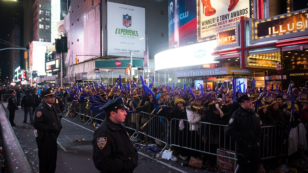 New Yorkers, celebrity entertainers and tourists from around the world will pack into Times Square on Sunday for what's expected to be a flashy but frigid start to the new year. (Edwin J. Torres / Mayoral Photo Office / MGN Online)